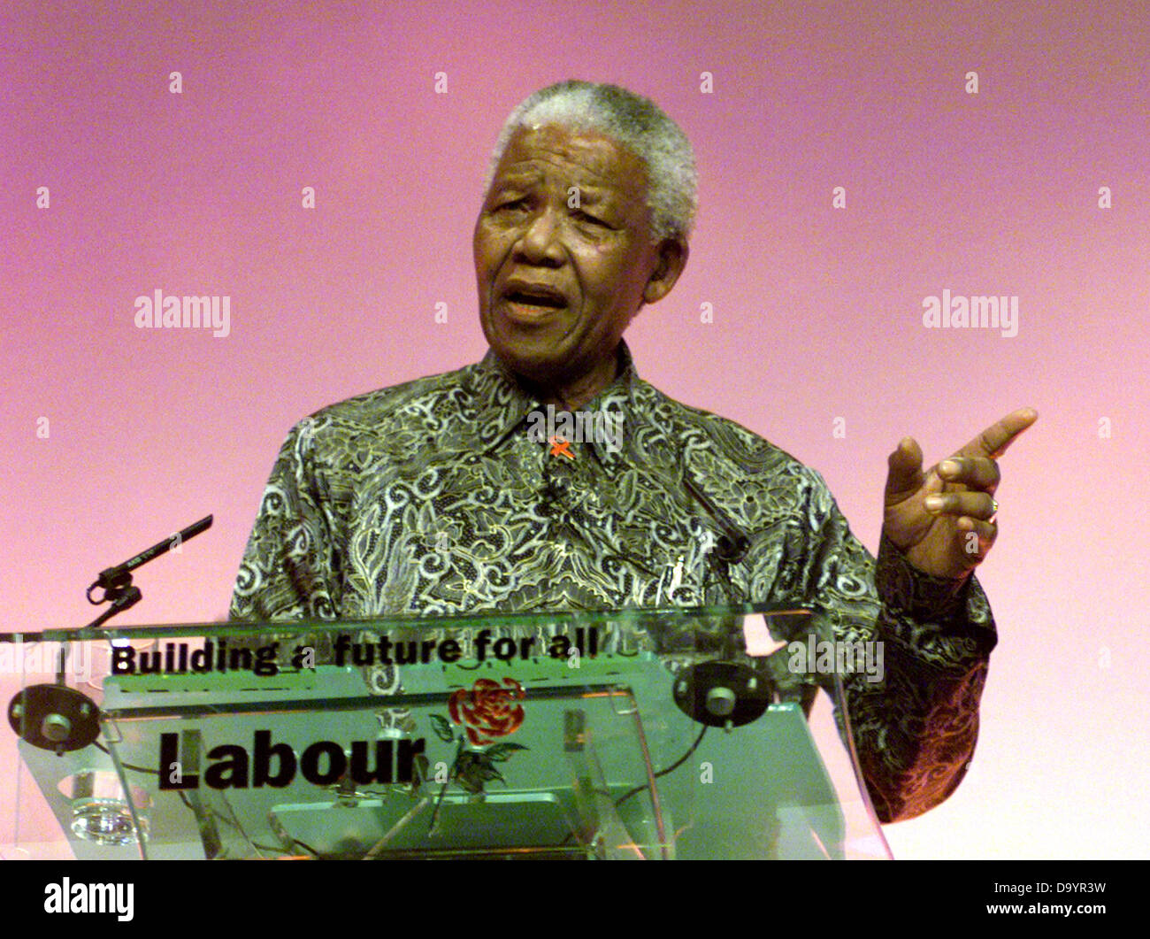 South African President Nelson Mandela speaking at the Labour Party Conference in Brighton September 2000 - Stock Image