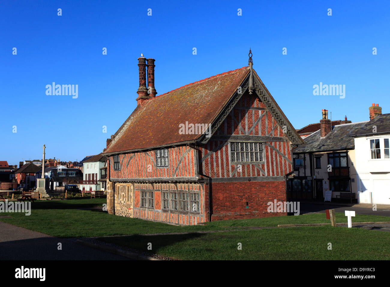 The Moot Hall, half timbered 16th century building museum, Aldeburgh town, Suffolk County, East Anglia, England. - Stock Image