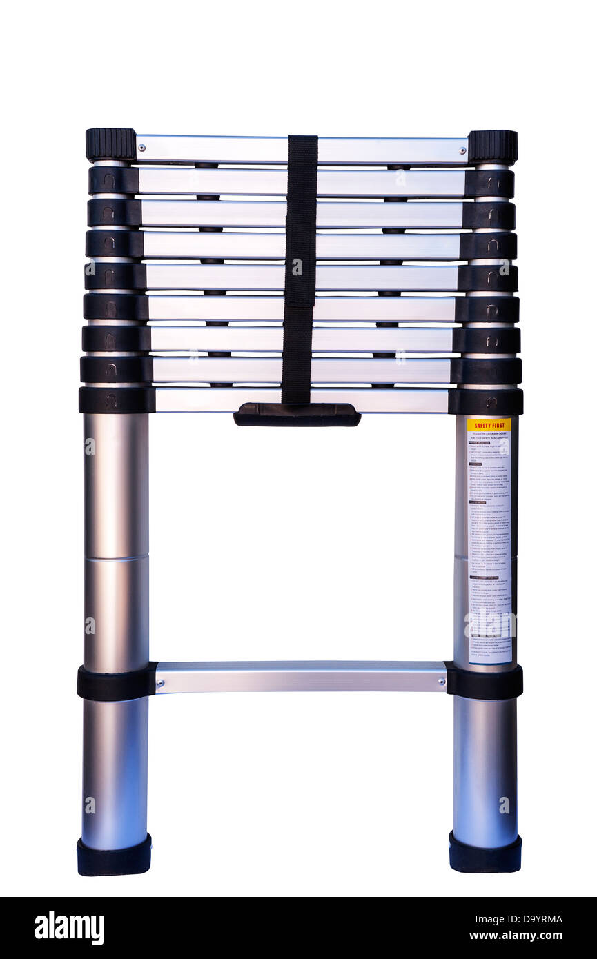A telescopic extendable ladder on a white background Stock Photo