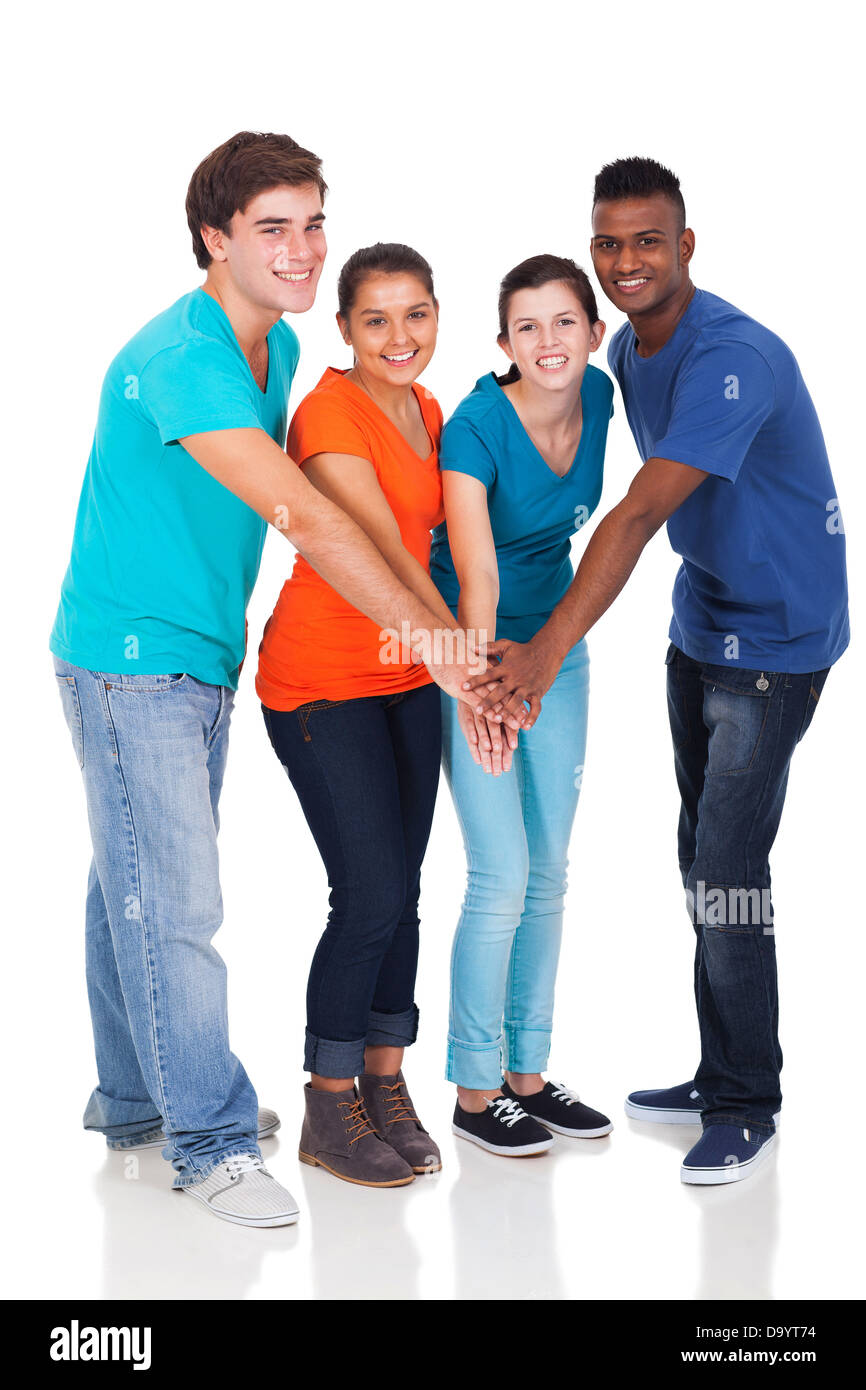 happy high school students hands together isolated on white - Stock Image
