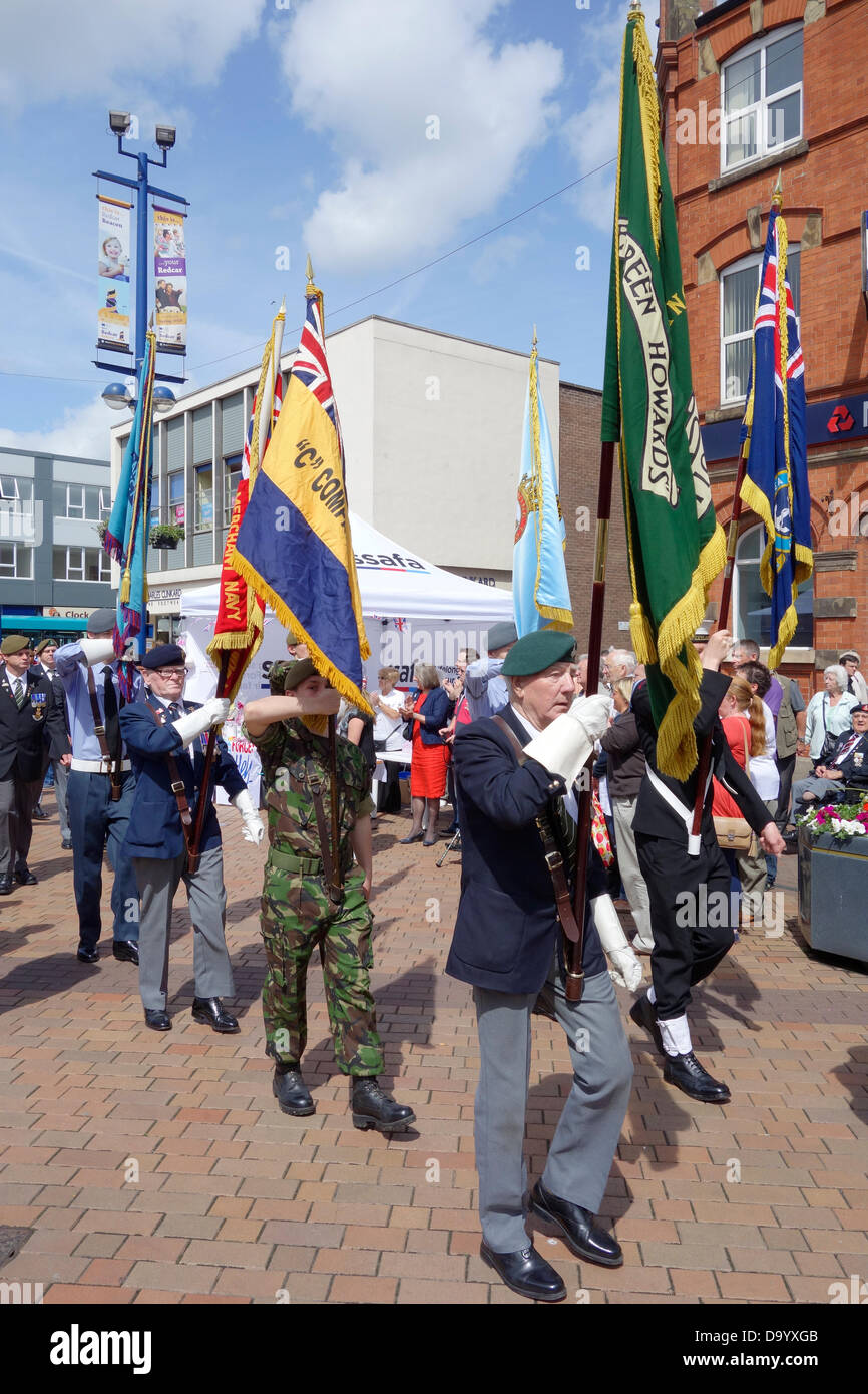 Redcar, Cleveland, UK. 29th June 2013. Standard Bearers at a Parade of Veteran and Cadet members of the Armed Forces, - Stock Image