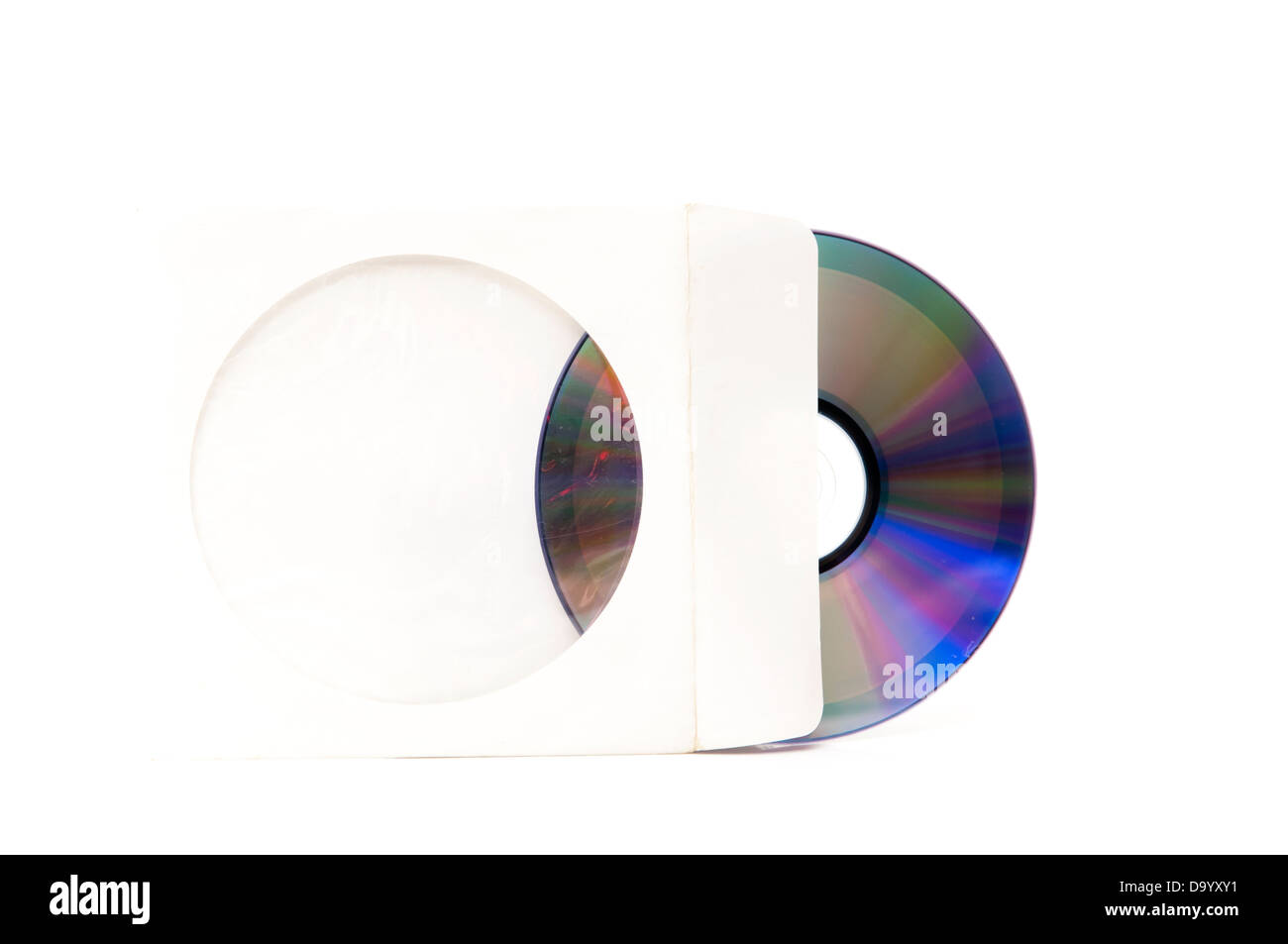 music cd packaging on a white background - Stock Image