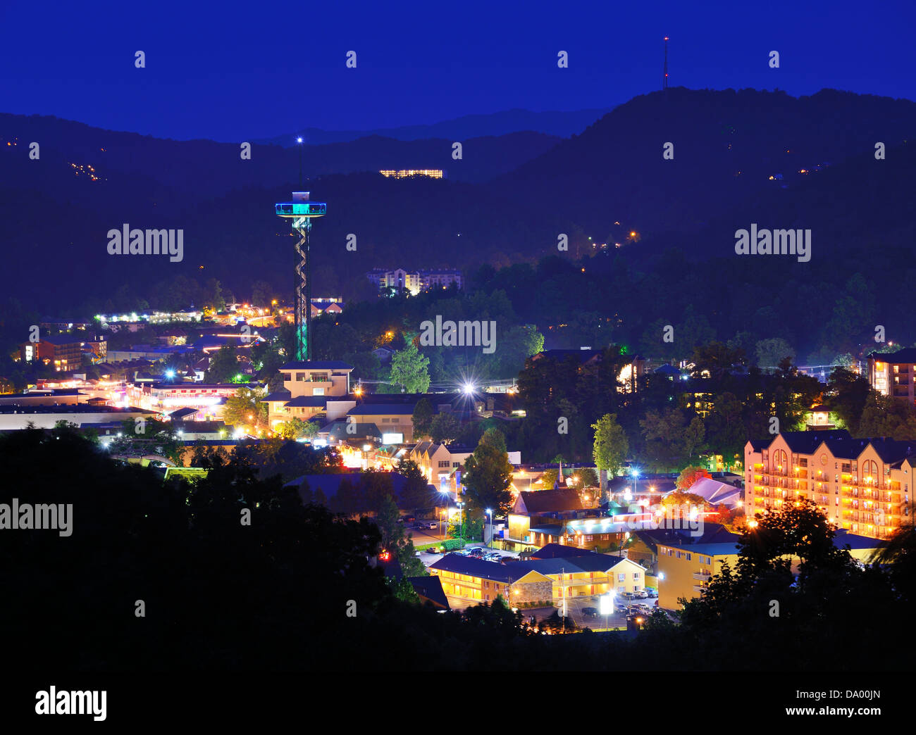 The skyline of downtown Gatlinburg, Tennessee, USA in the Great Smoky Mountains. - Stock Image