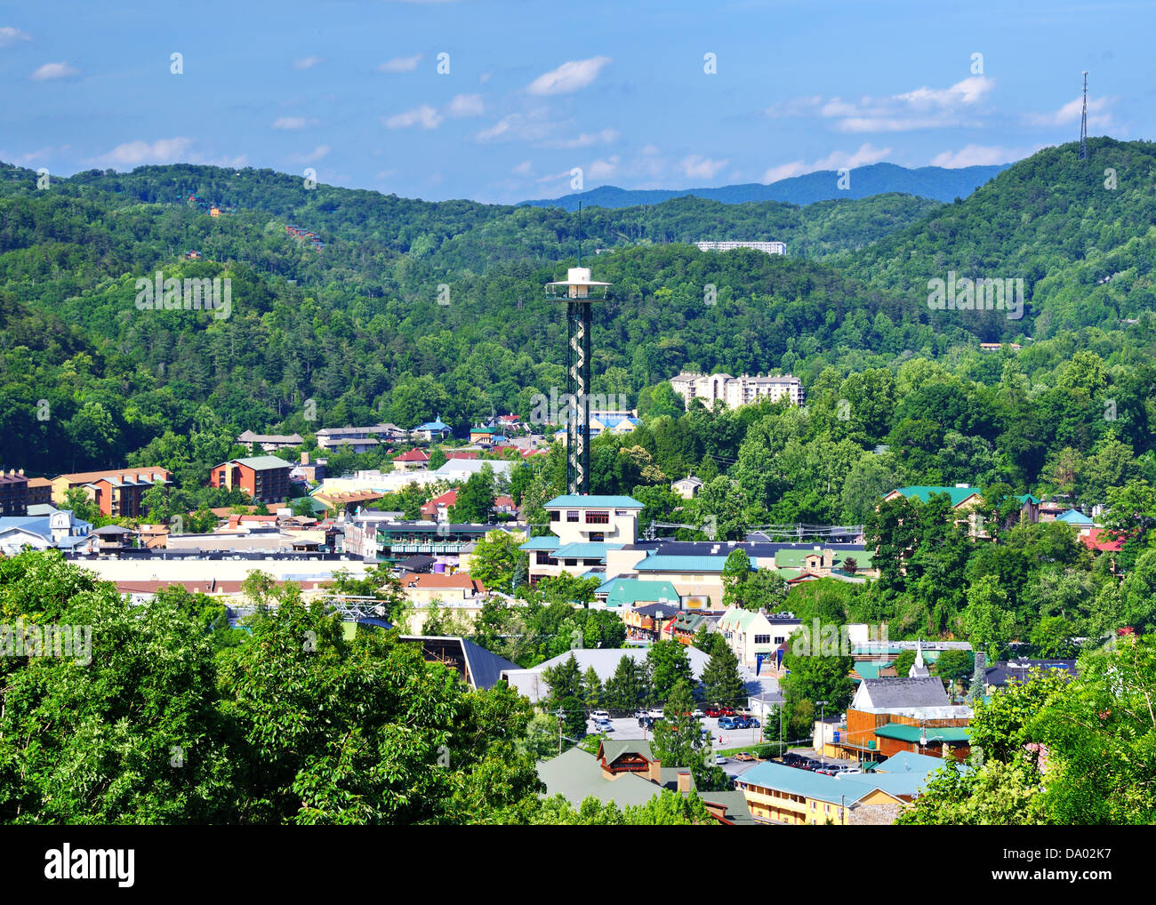 The skyline of downtown Gatlinburg, Tennessee, USA in the Great Smoky Mountains. Stock Photo