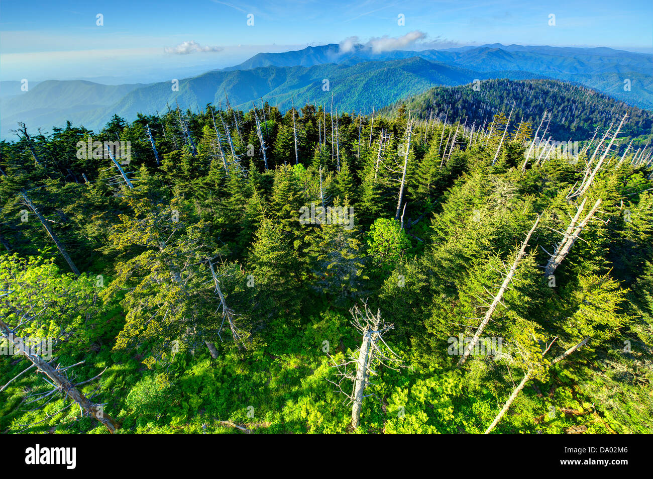 View from the observation deck of Clingman's Dome in the Great Smoky Mountains. - Stock Image