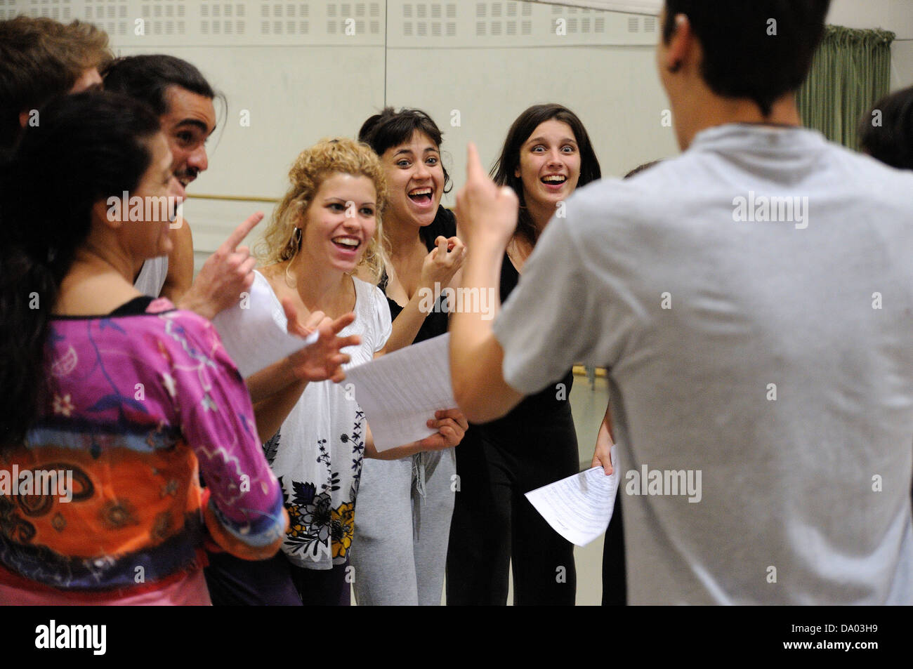BARCELONA - MAR 3: Actors rehearsal Commedia dell'arte on March 3, 2011 in Barcelona, Spain. Stock Photo