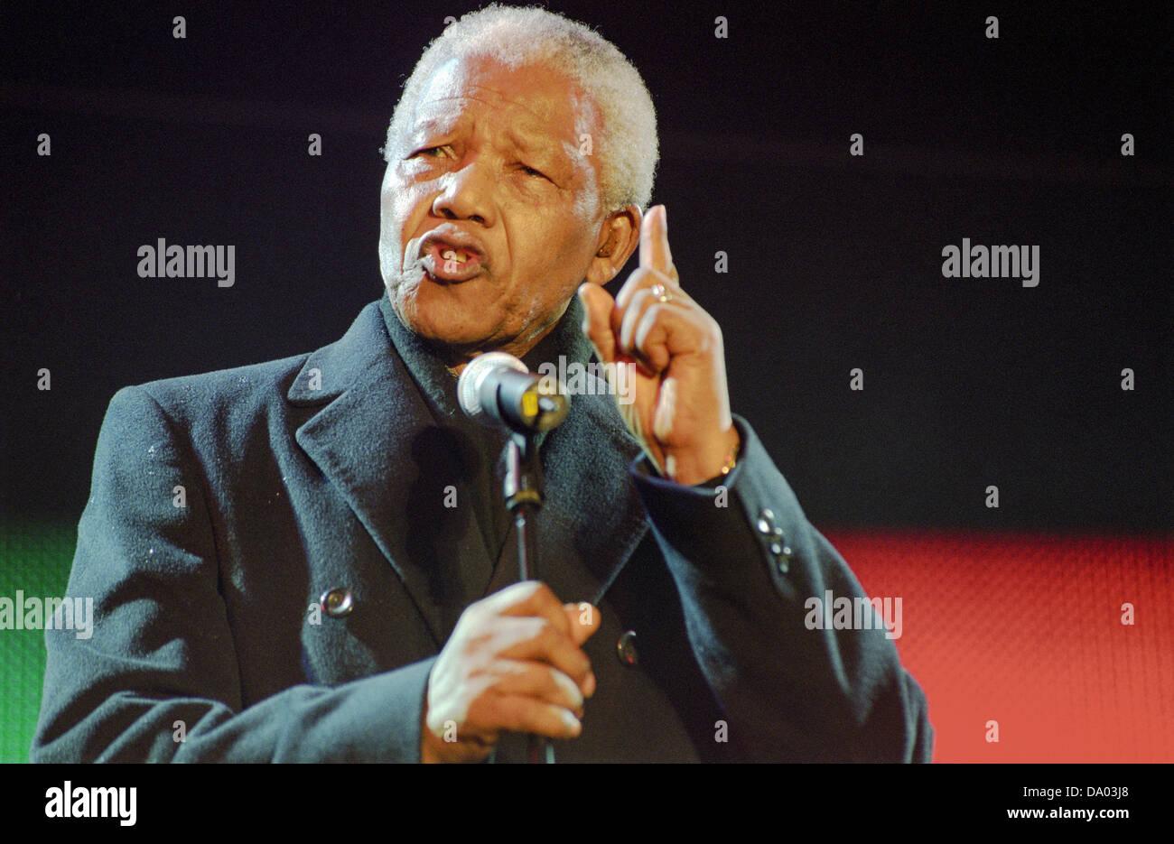 Nelson Mandela at the Celebrate South Africa concert in Trafalgar Square, London, UK. - Stock Image