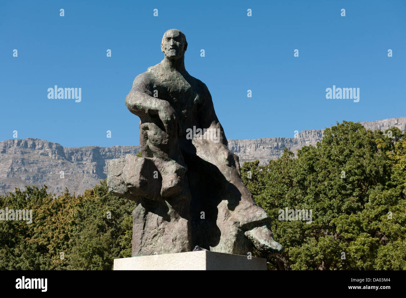 Jan smuts Statue, The Company's Garden, Cape Town, South Africa - Stock Image