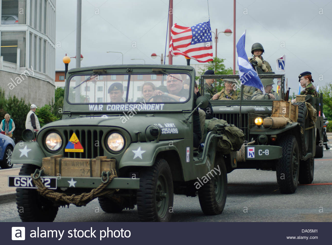 Livingston, UK. 29th June 2013. WW2 re-enactment vehicles taking part in Armed Forces day. Livingston. Saturday - Stock Image