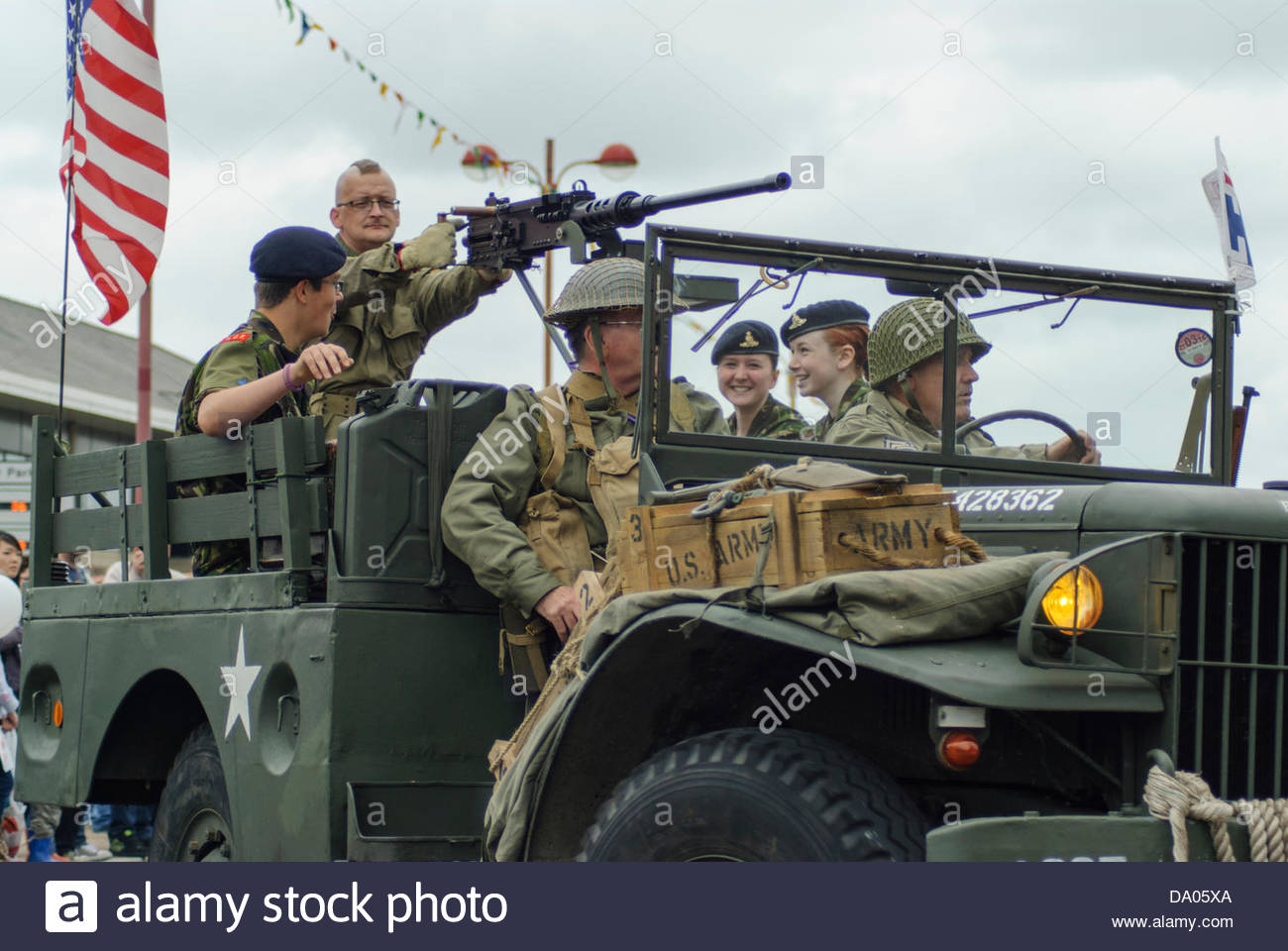 Livingston, UK. 29th June 2013. WW2 re-enactment vehicle in the Armed Forces day parade in Livingston on Saturday, - Stock Image