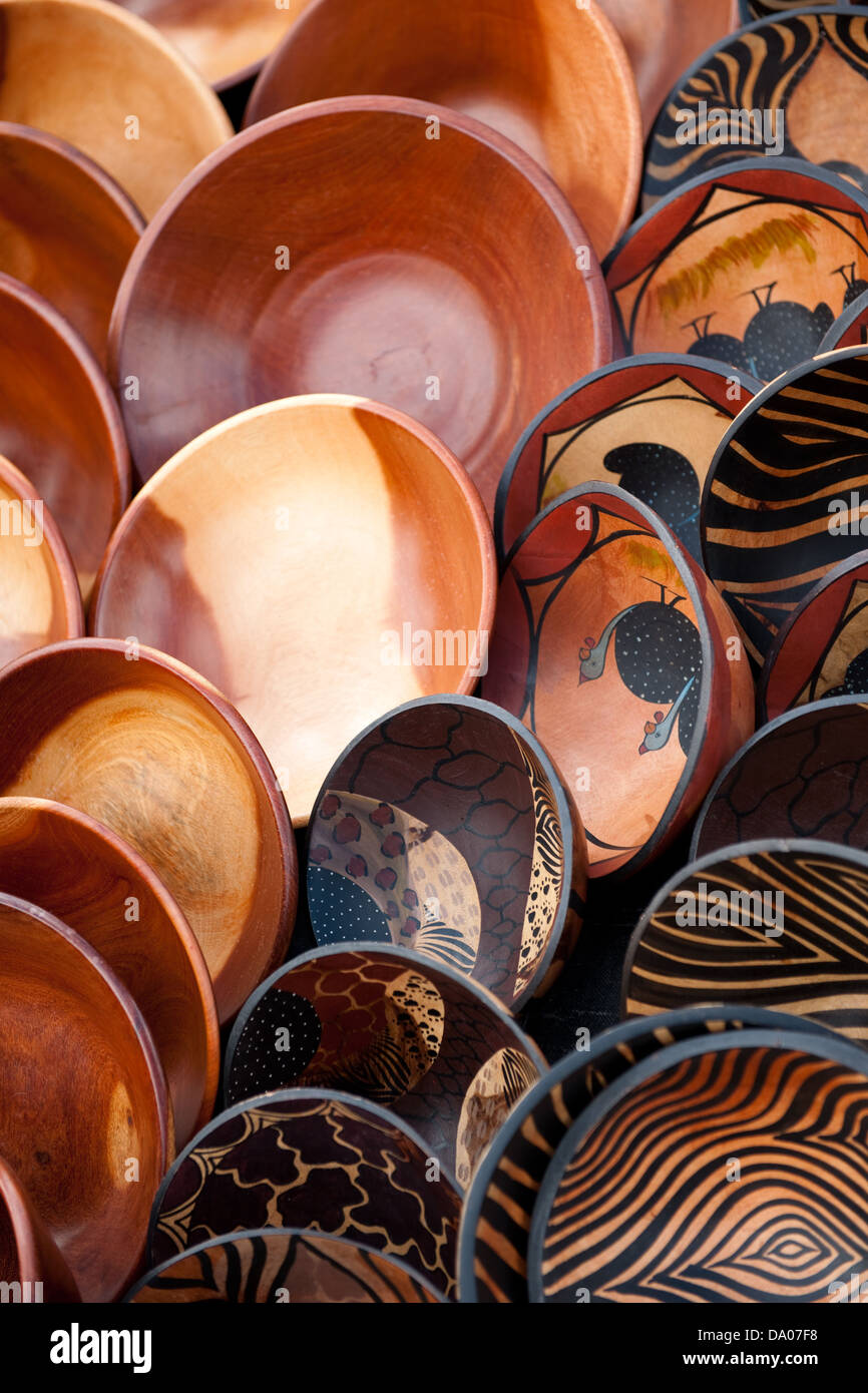 Wooden Bowls For Sale Hout Bay Cape Town South Africa Stock Photo