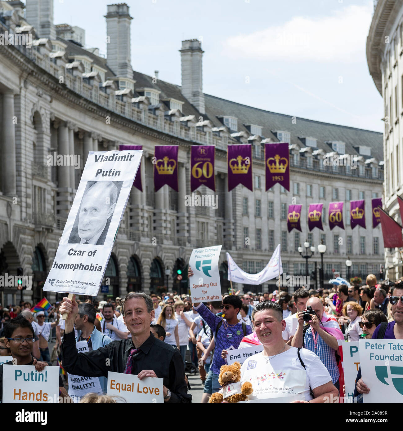 London, UK. 29th June 2013.  Peter Tatchell participating in the London Pride parade on Regent's Street.Photographer: - Stock Image