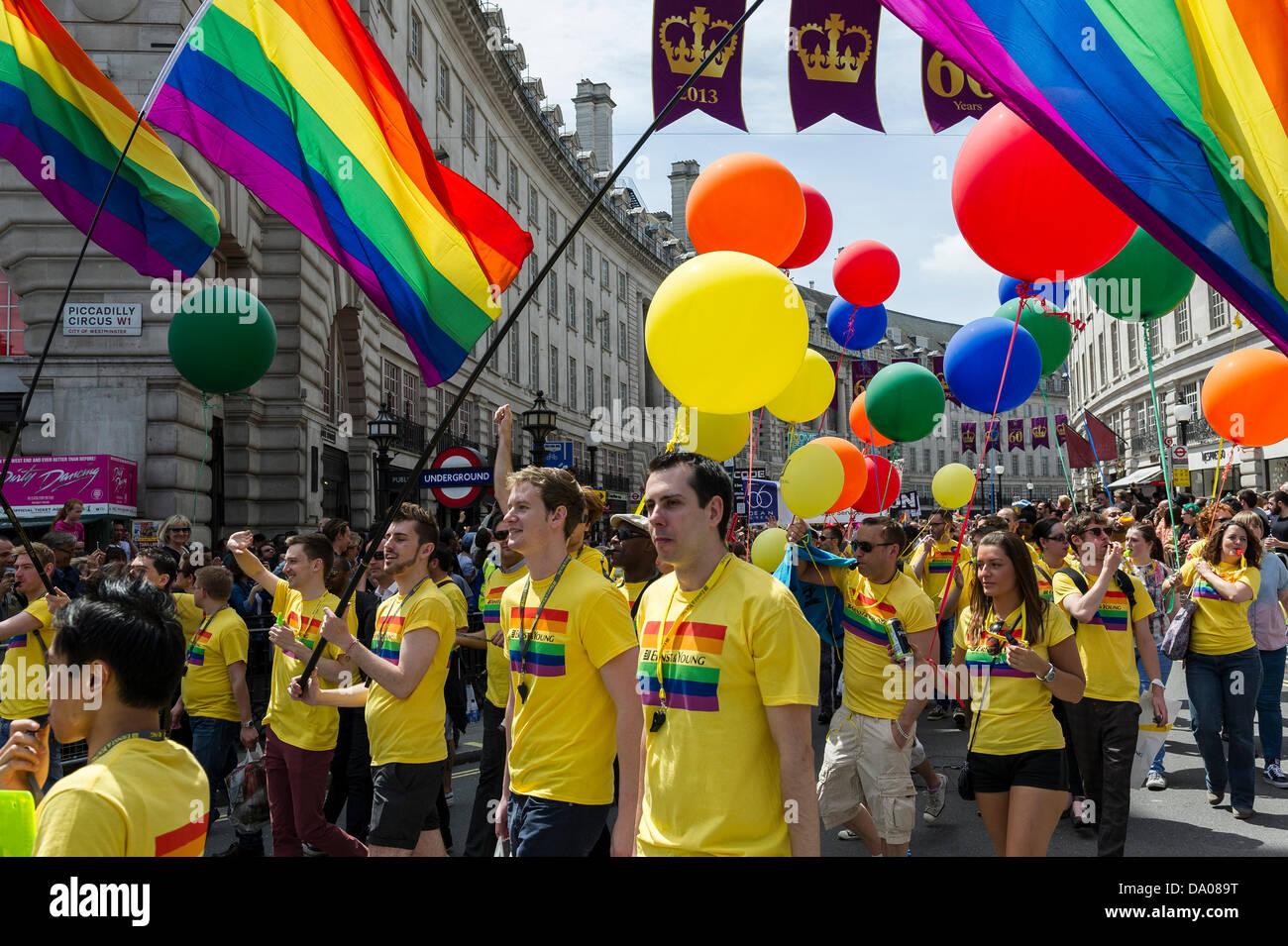 London, UK. 29th June 2013.  Participants in the London Pride parade on Regent's Street.  Photographer:  Gordon - Stock Image