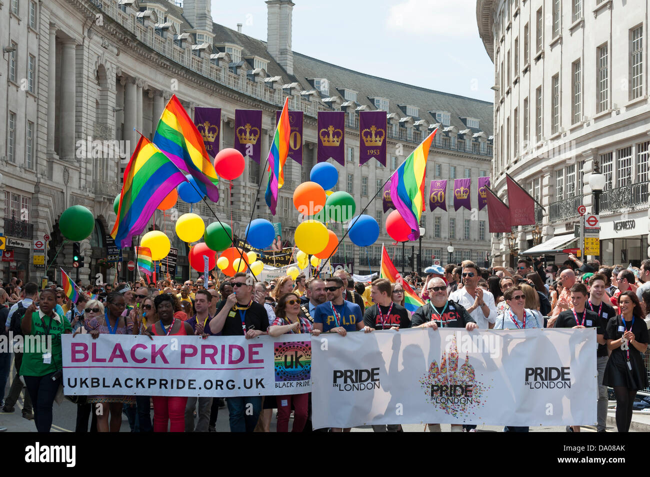 London, UK. 29th June 2013.  The London Pride parade on Regent's Street in London. Photographer: Gordon Scammell/Alamy - Stock Image