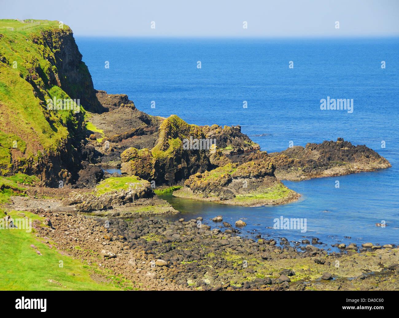 Photograph of the coastline near Giant's Causeway, Northern Ireland. - Stock Image