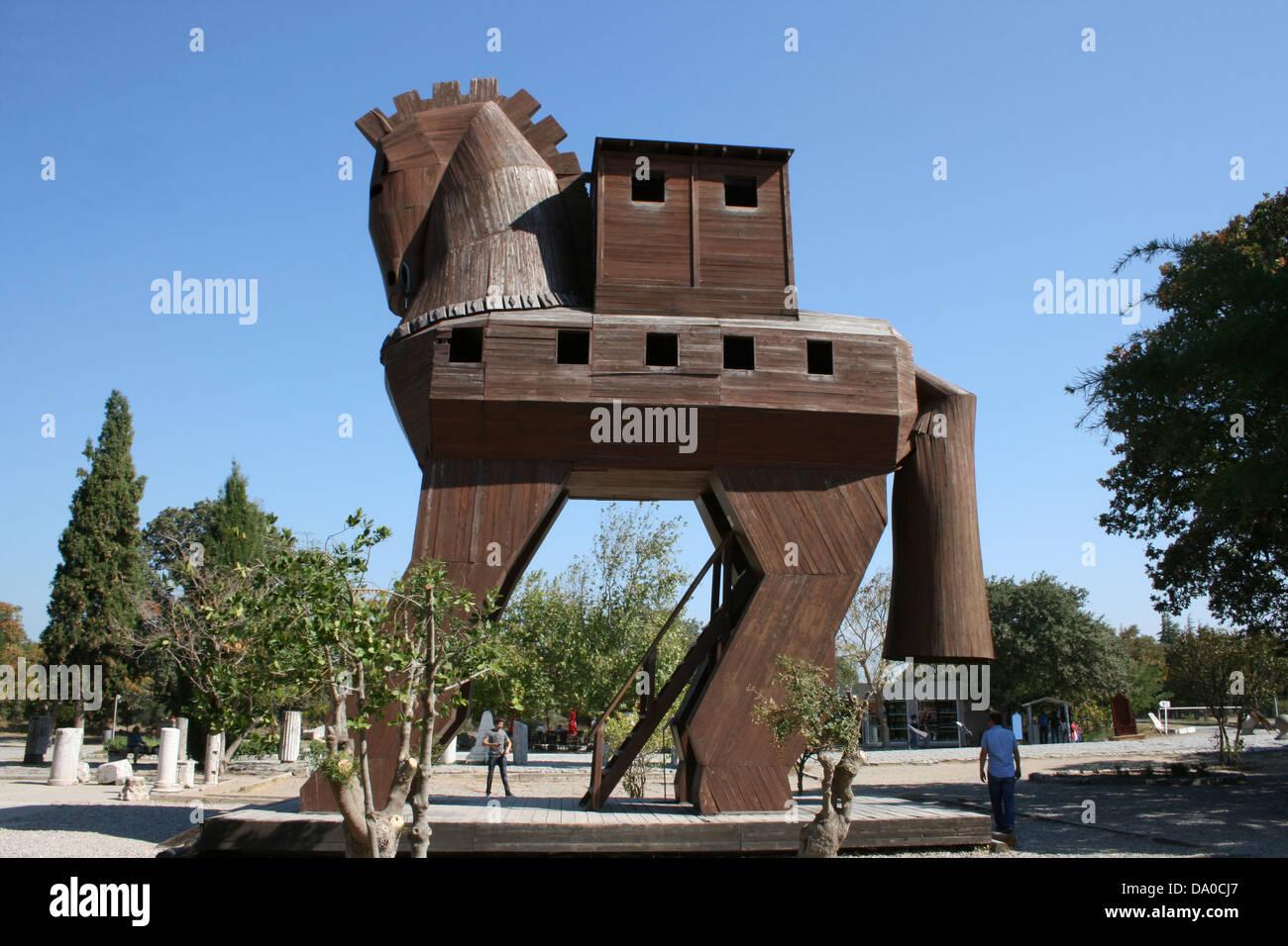 Trojan Horse in Troia,Canakkale,Turkey - Stock Image