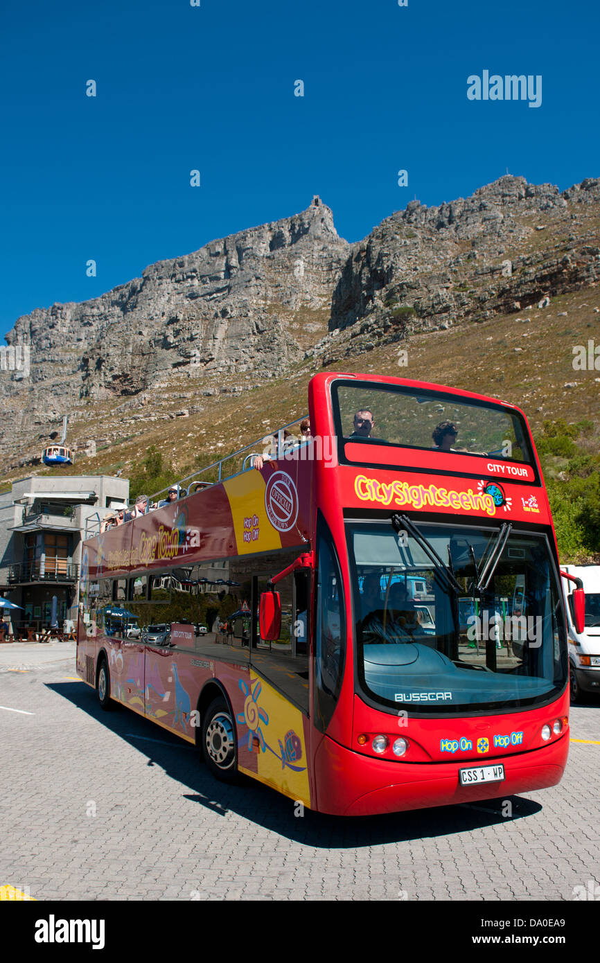 City Sightseeing bus at the Cableway Station, Cape Town, South Africa - Stock Image