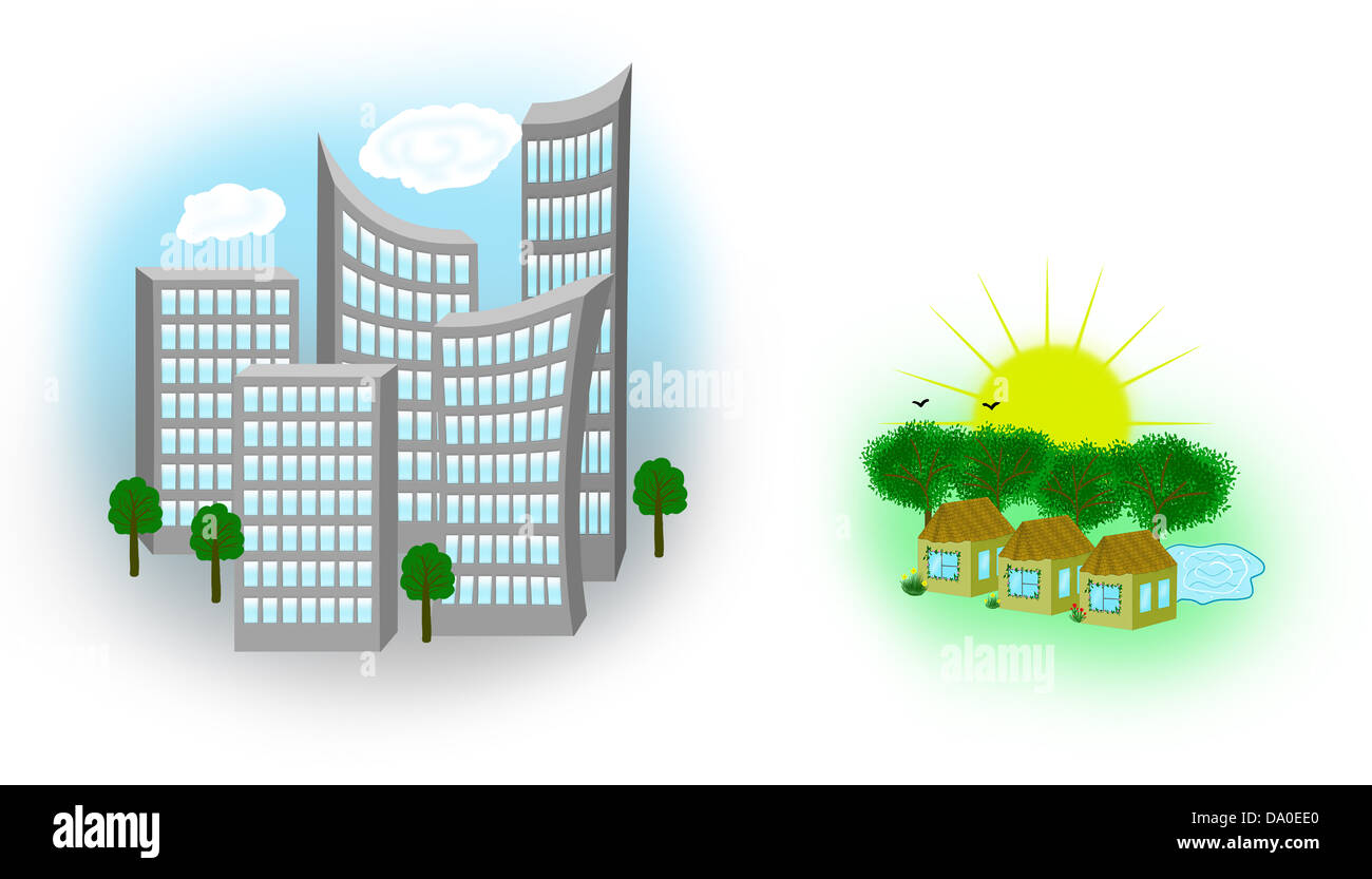 Illustration of town and country. A village with sun, pond and green trees. City in shades of gray. - Stock Image