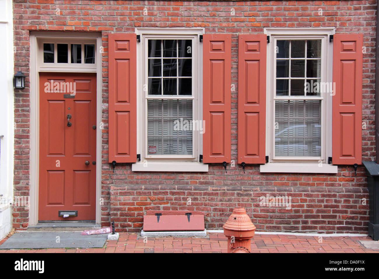 Door and windows of a traditional colonial house in Philadelphia\u0027s Center City Pennsylvania. & Door and windows of a traditional colonial house in Philadelphia\u0027s ...