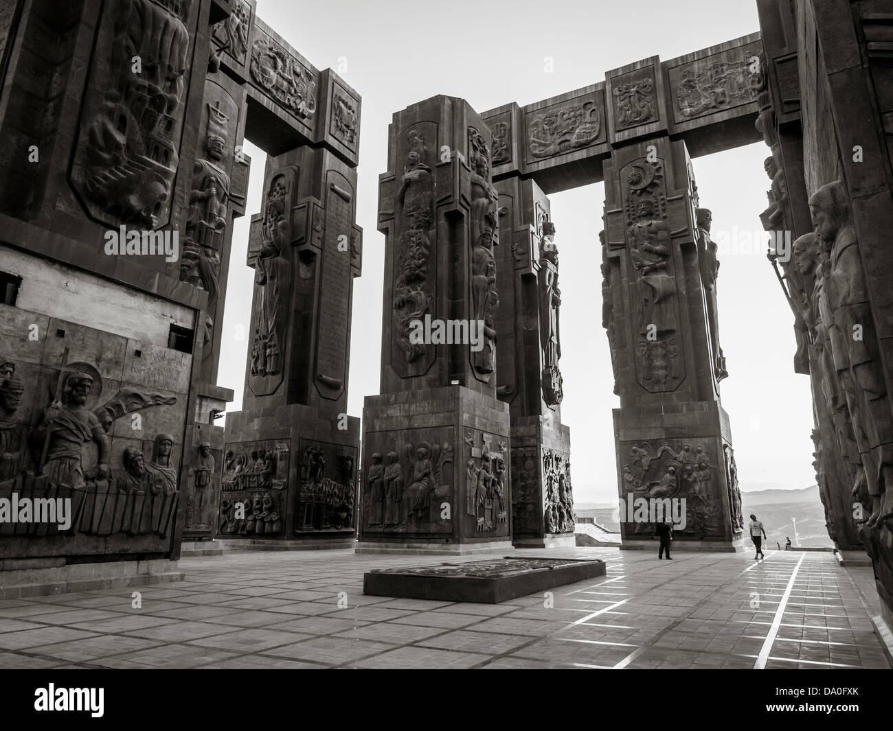 The Chronicle of Georgia (Stonehenge) in Tbilisi, Georgia. Stock Photo