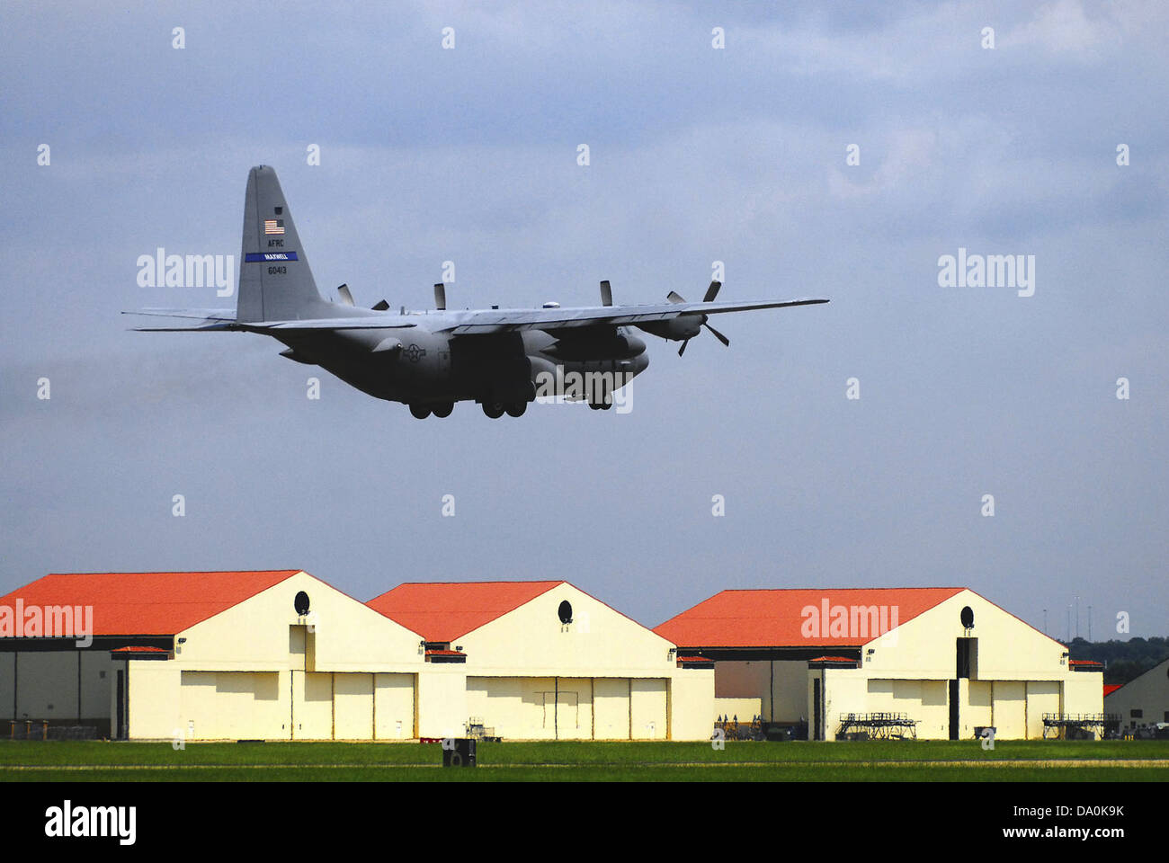 908th Airlift Wing C-130 over Maxwell AFB Alabama - Stock Image