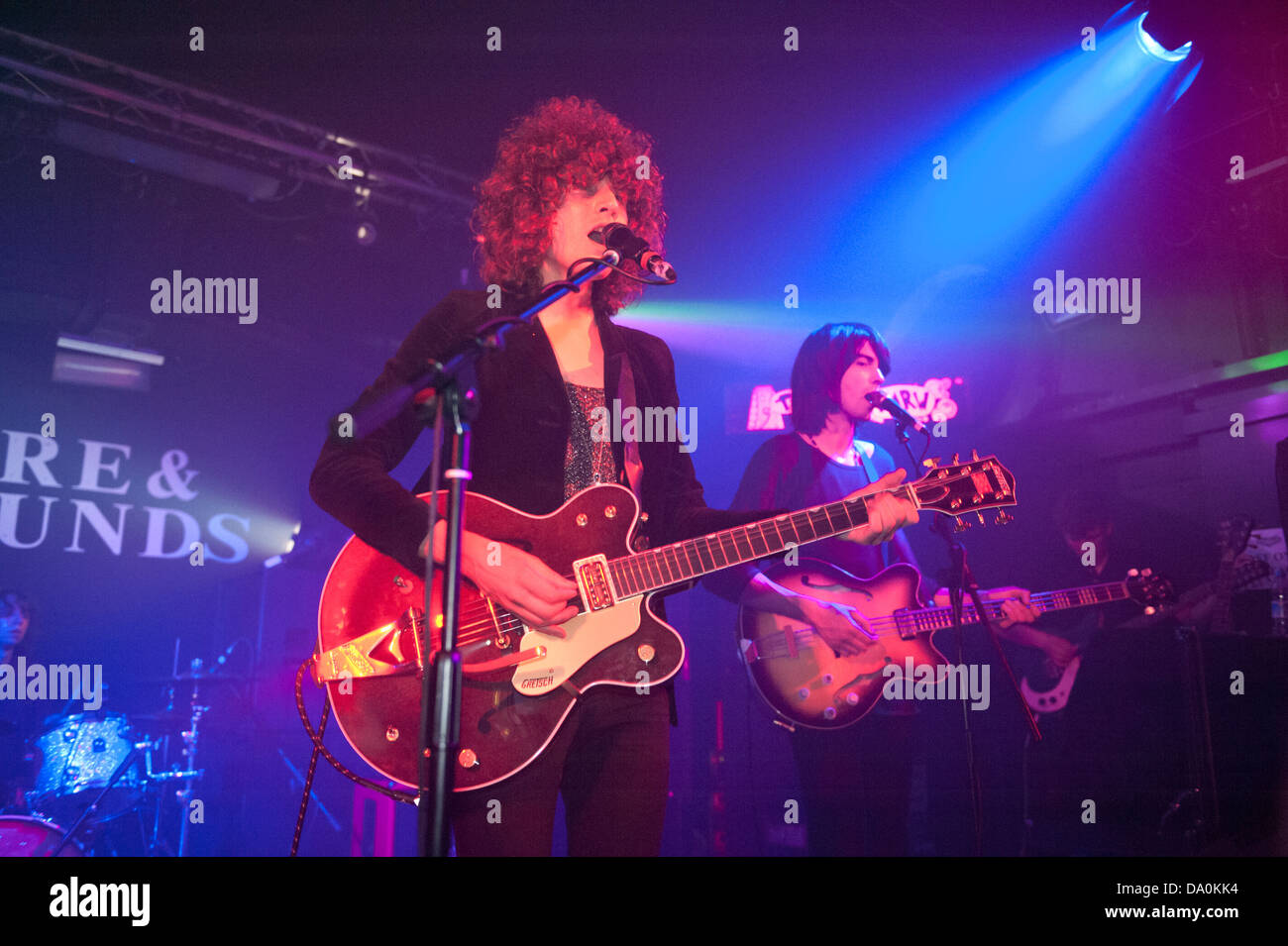 Psychedelic rock band Temples at the Hare and Hounds, King's Heath, Birmingham, 19 June 2013. Lead singer James - Stock Image