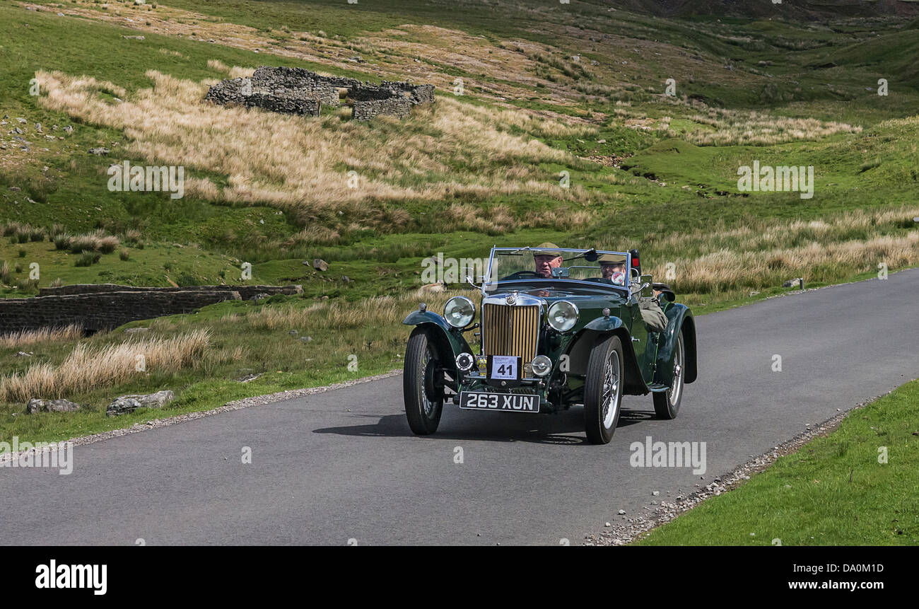 Beamish Reliability Run, 2013. Veteran MG sports car tackles the section through Arkengarthdale. - Stock Image