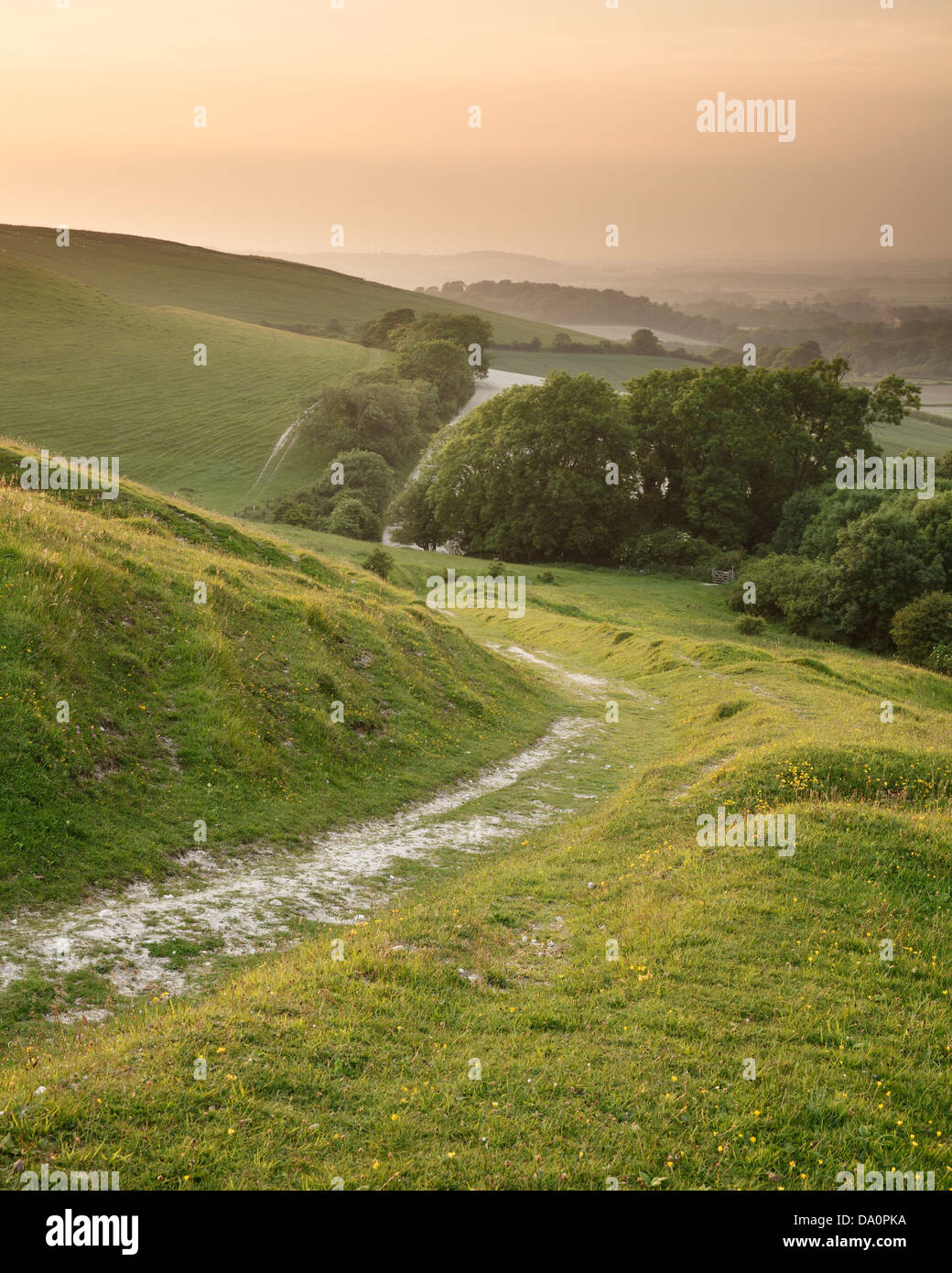A trail winding its way down the South Downs near Firle in East Sussex, England, UK - Stock Image