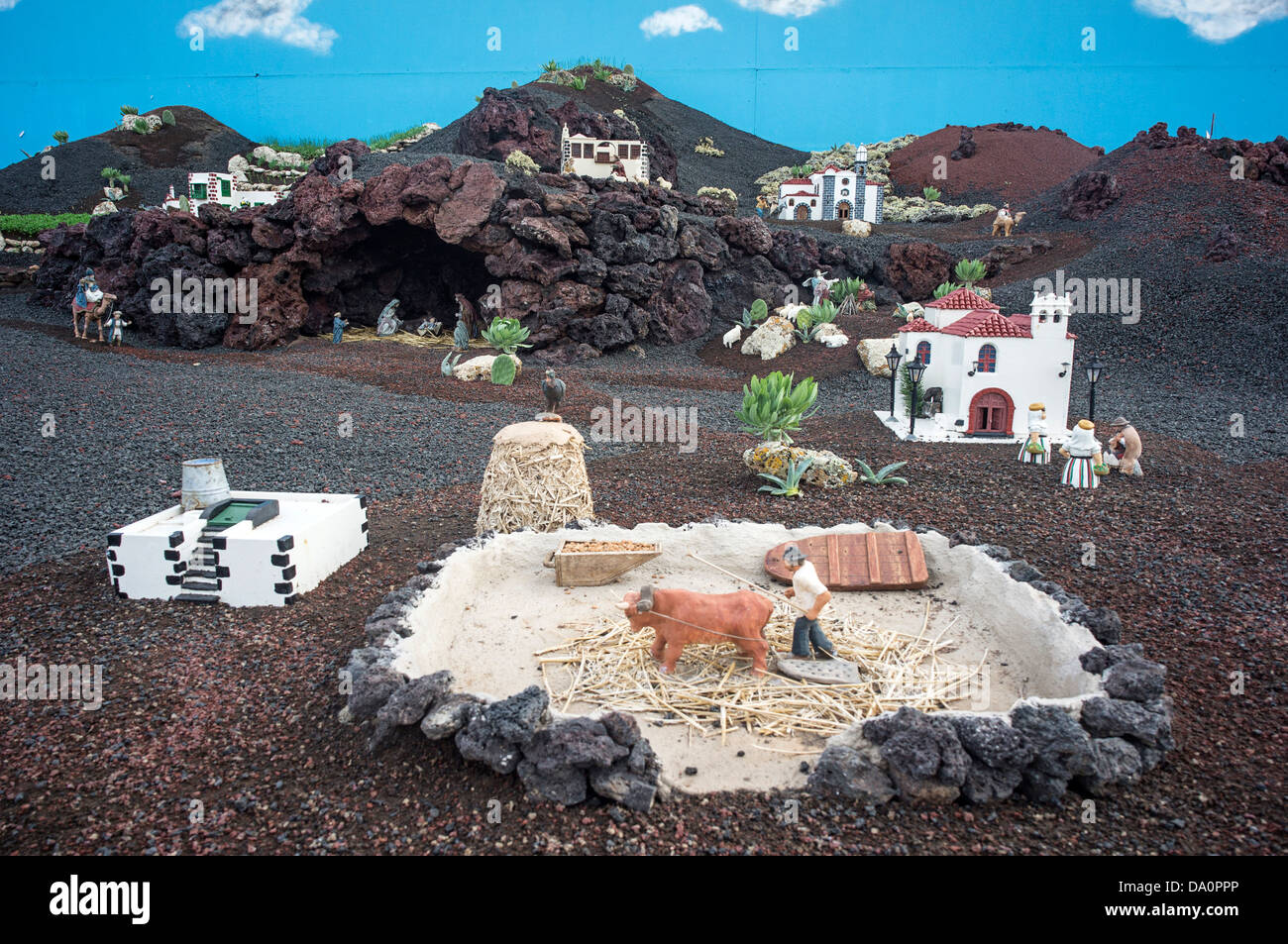 Christmas Manger in Yaiza, Lanzarote, Canary Islands, Spain - Stock Image