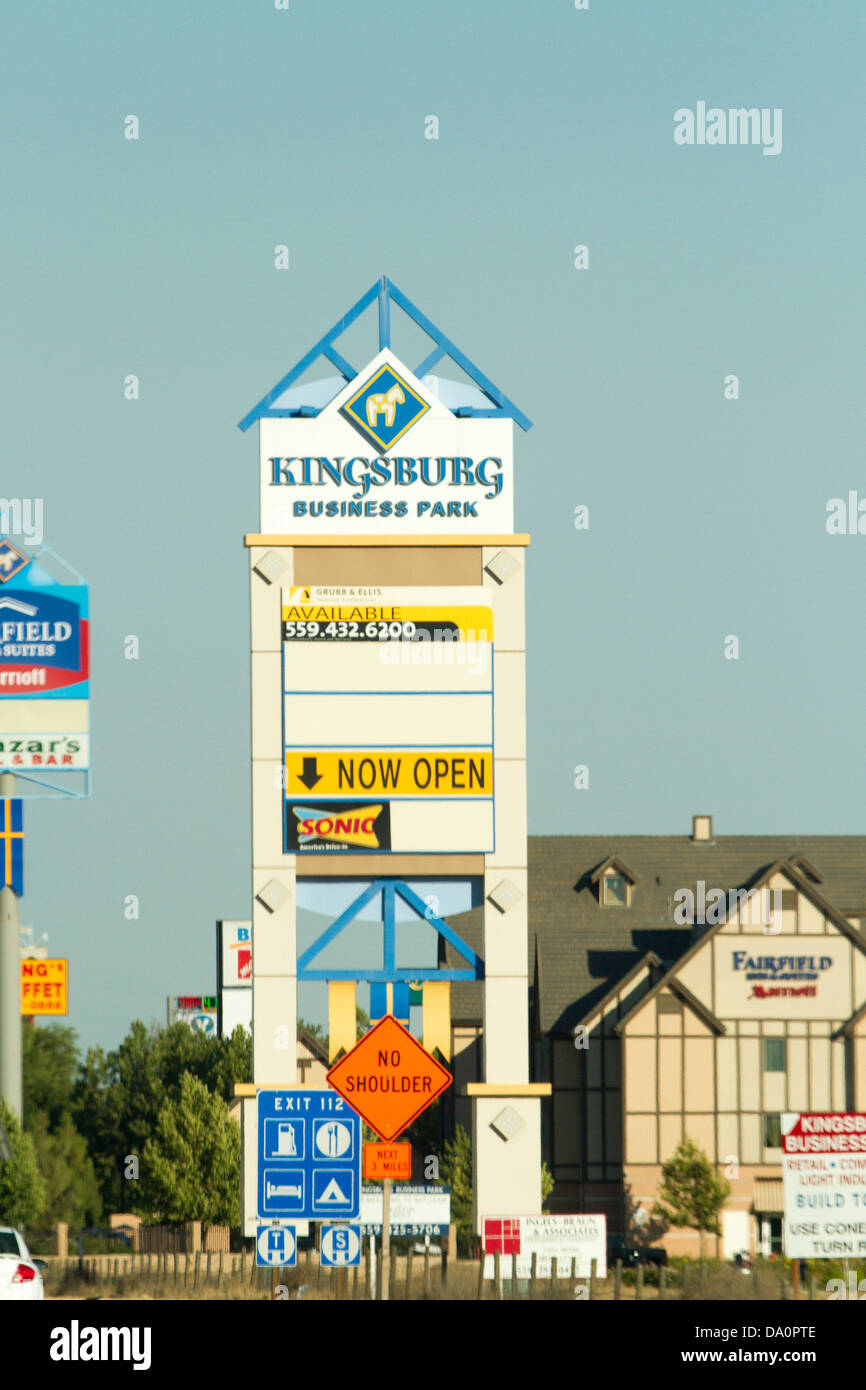 A Sign Along Highway 99 In Californias Central Valley For The Swedish Community Of Kingsburg