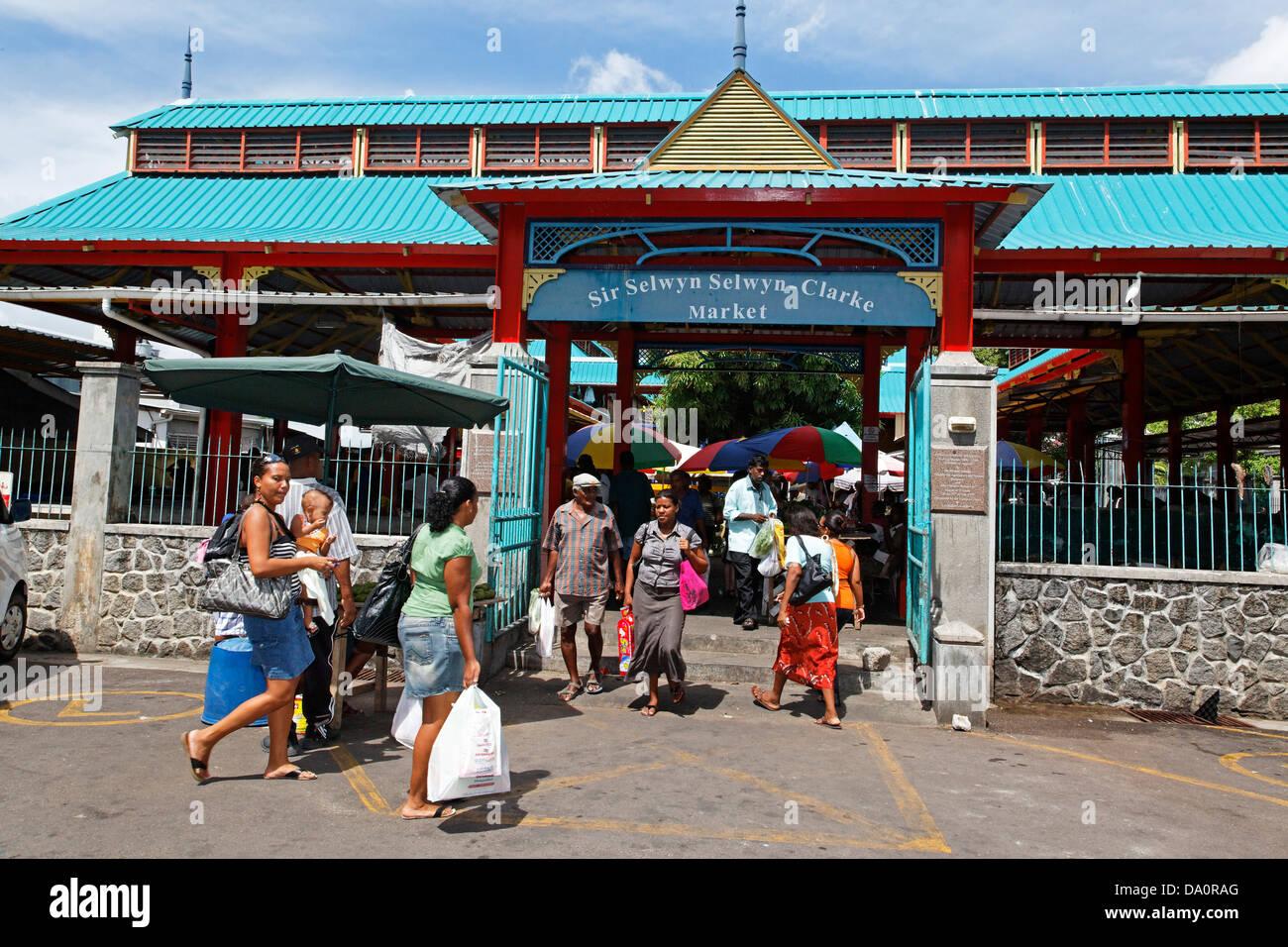 Victoria Market Mahe Island Seychelles - Stock Image