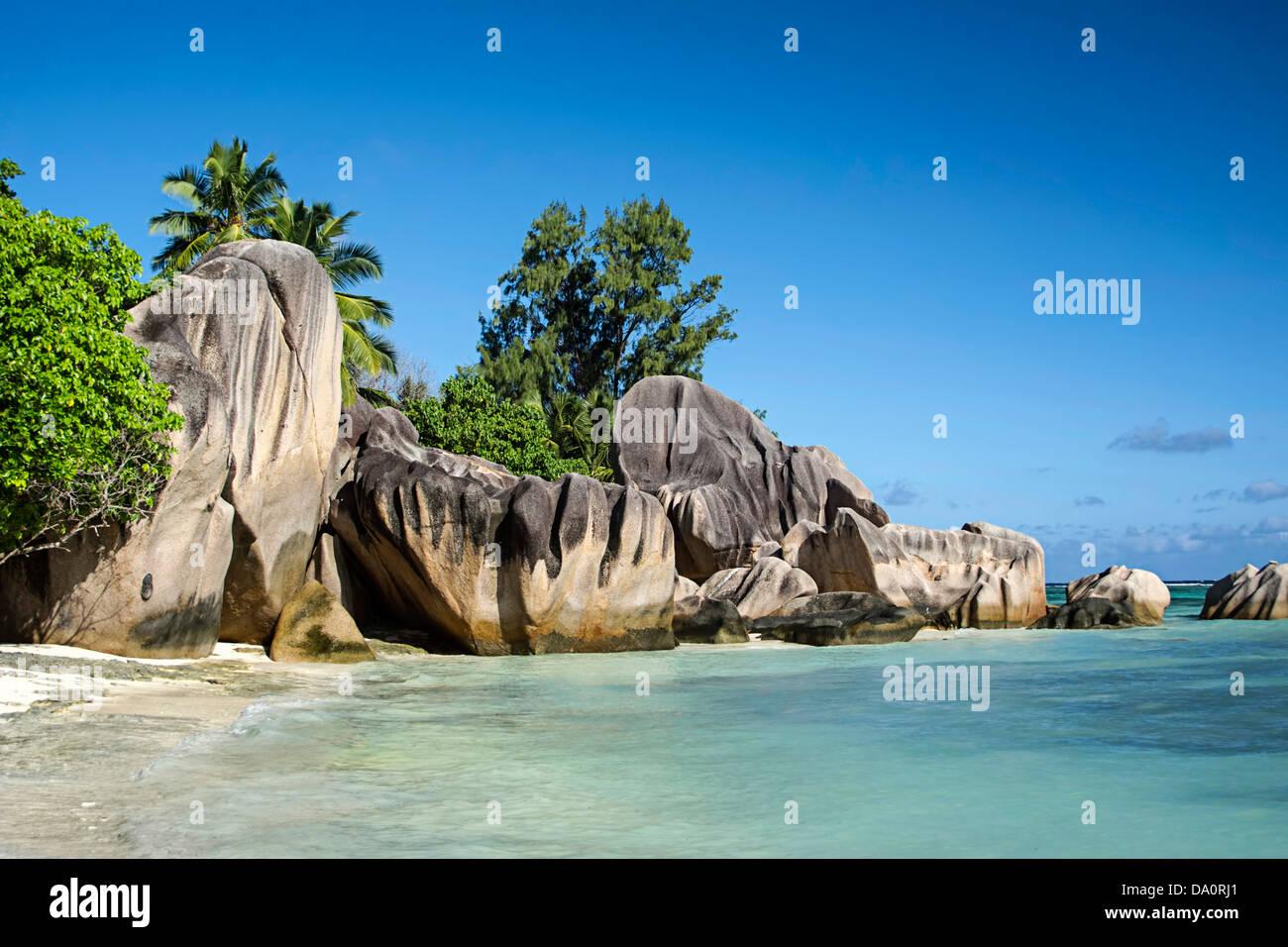 Anse Source D'Argent, La Digue, Seychelles, Indian Ocean, Africa - Stock Image