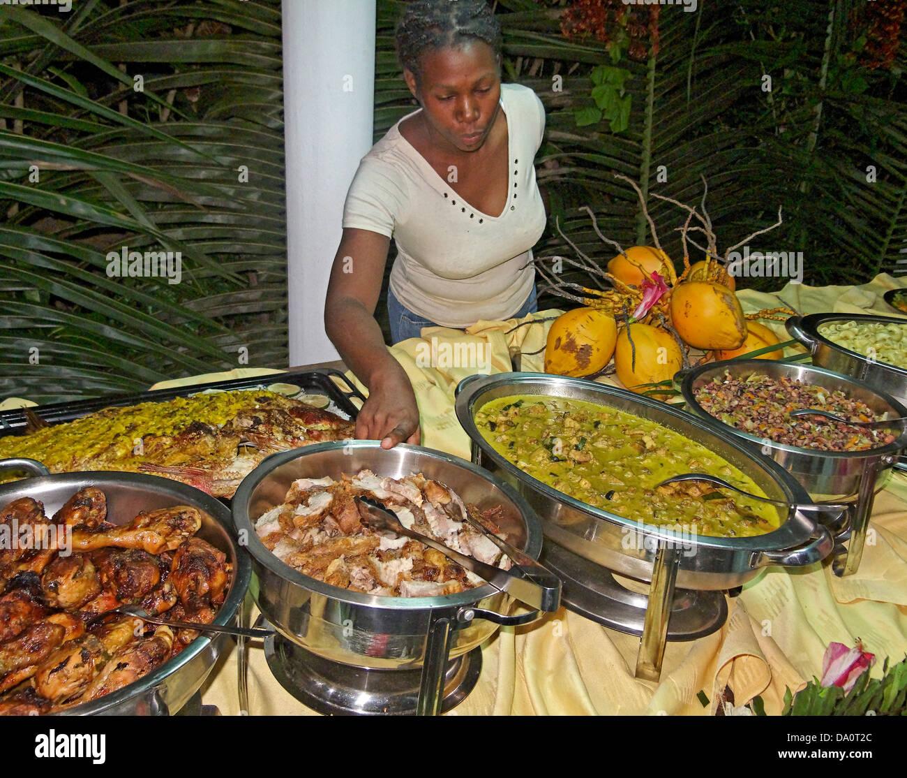 Buffet of local food, La Digue, Seychelles, Indian Ocean - Stock Image