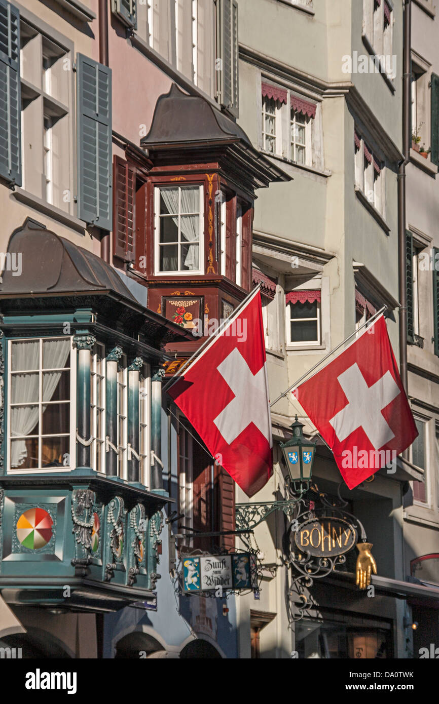Swiss Flaggs at Agustinergasse, Zurich, Switzerland - Stock Image