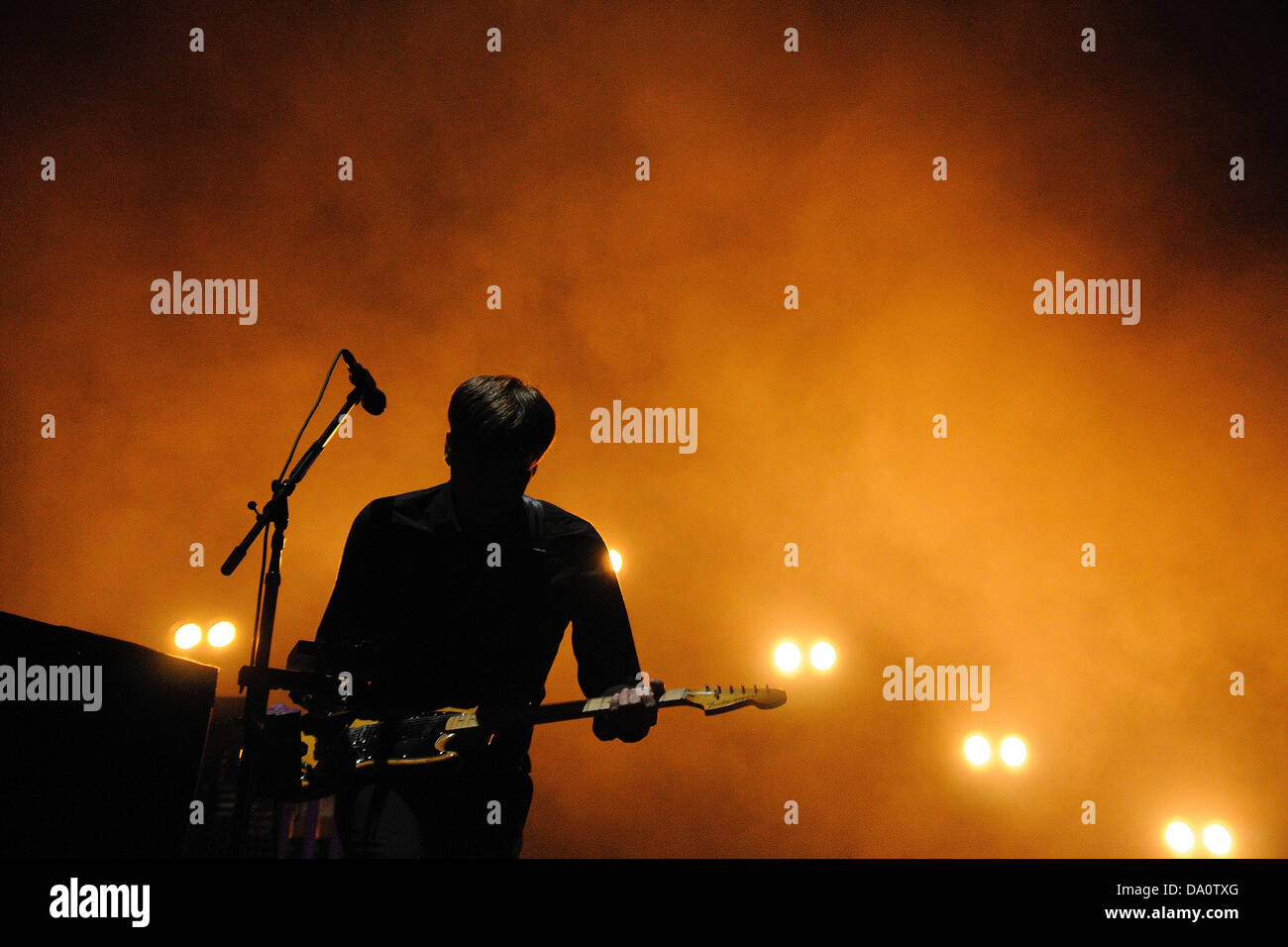 Barcelona May 23 Silhouette Of Ben Gibbard Vocalist And