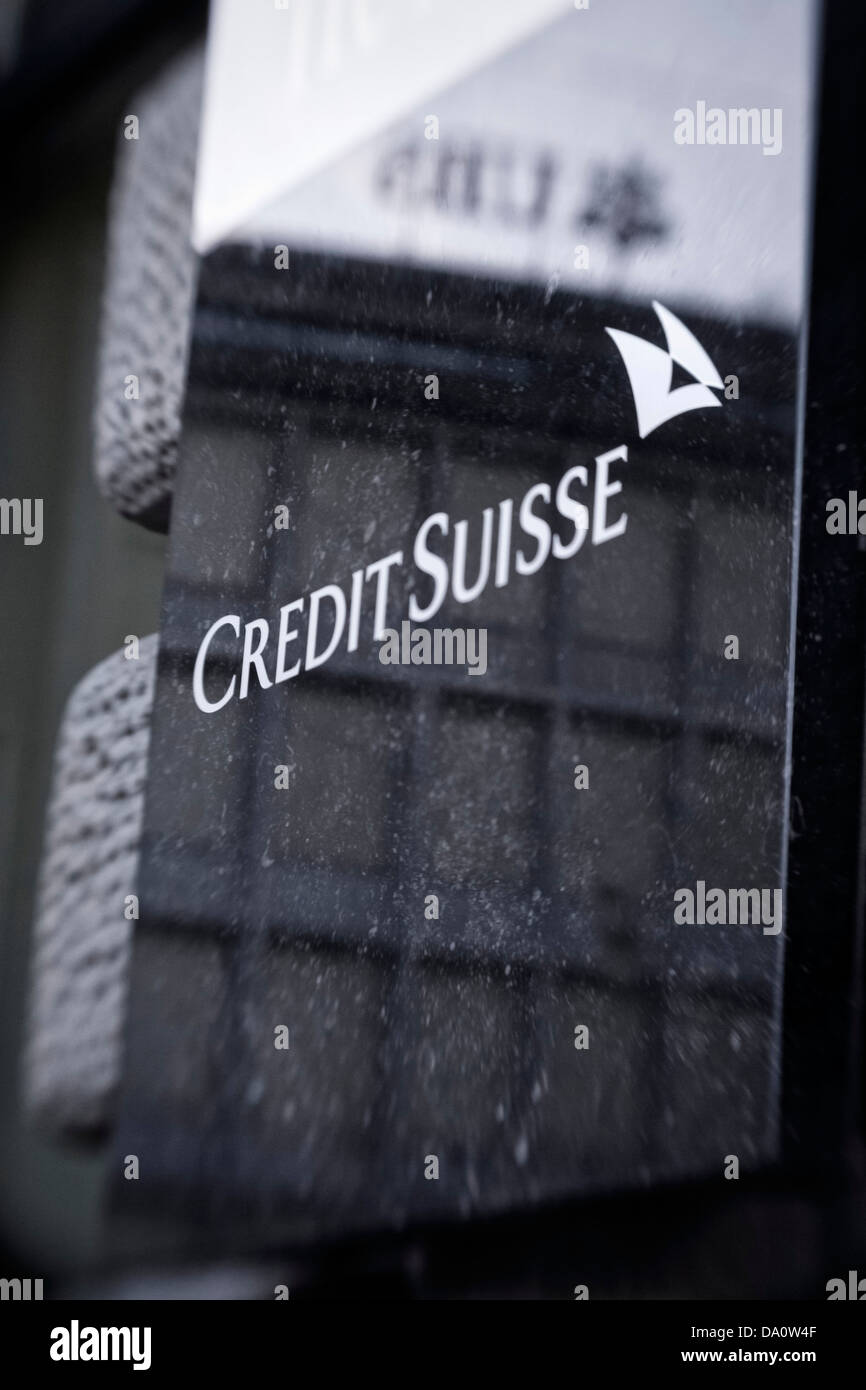 Credit Suisse bank logo, Bahnhofstrasse, Zurich, Switzerland - Stock Image