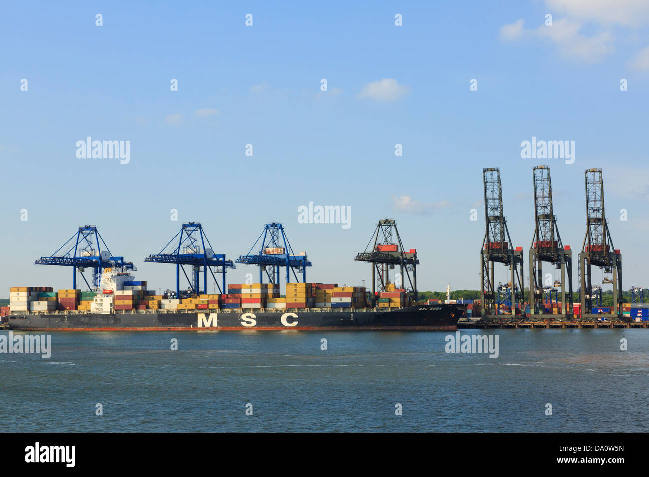 Gantry cranes lifting containers on to Mediterranean Shipping Company container ship docked in Trinity terminal. Felixstowe Port Stock Photo