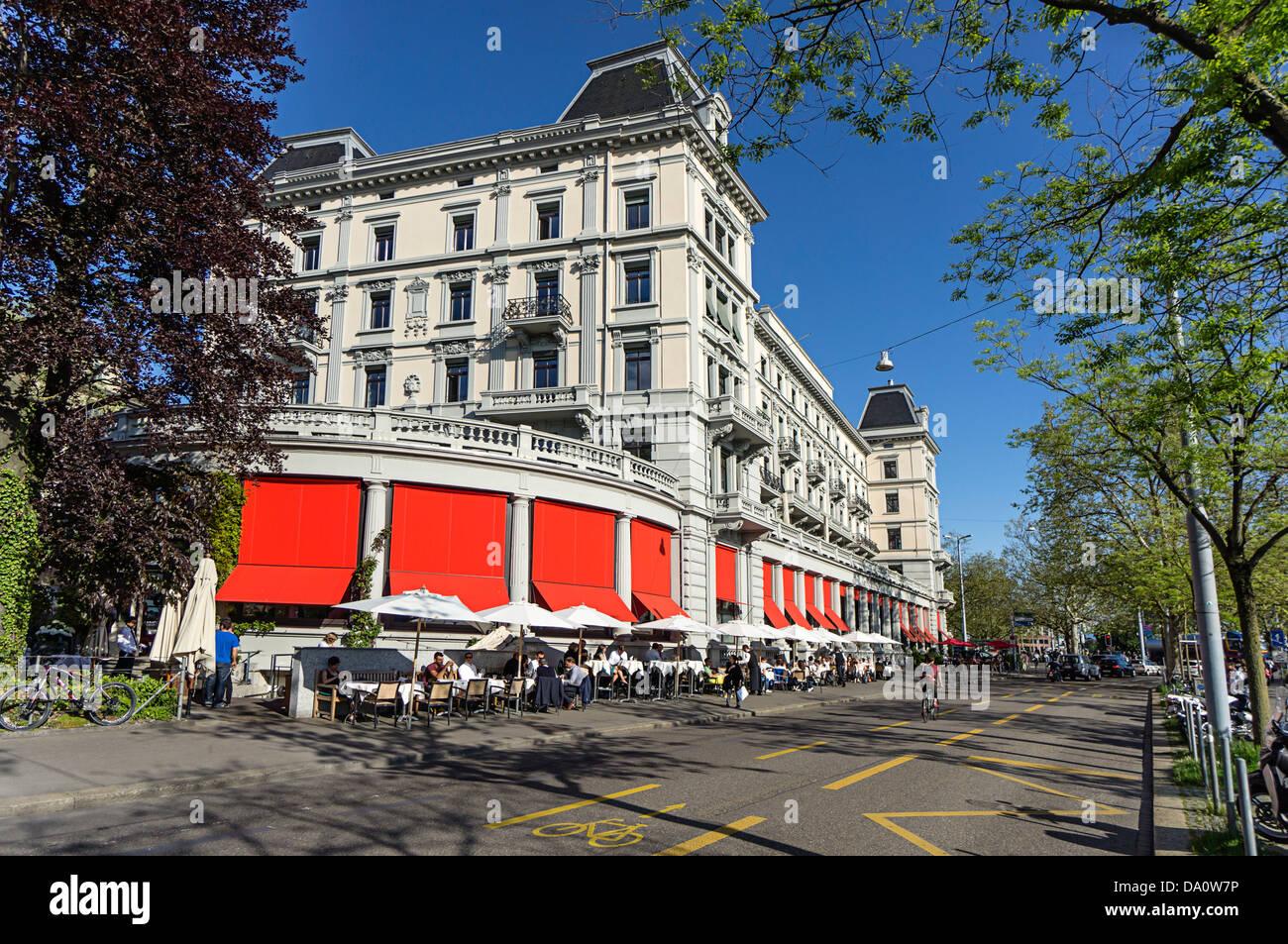 Restaurant and street Cafe Terasse , Limmatquai, Zurich, Switzerland - Stock Image
