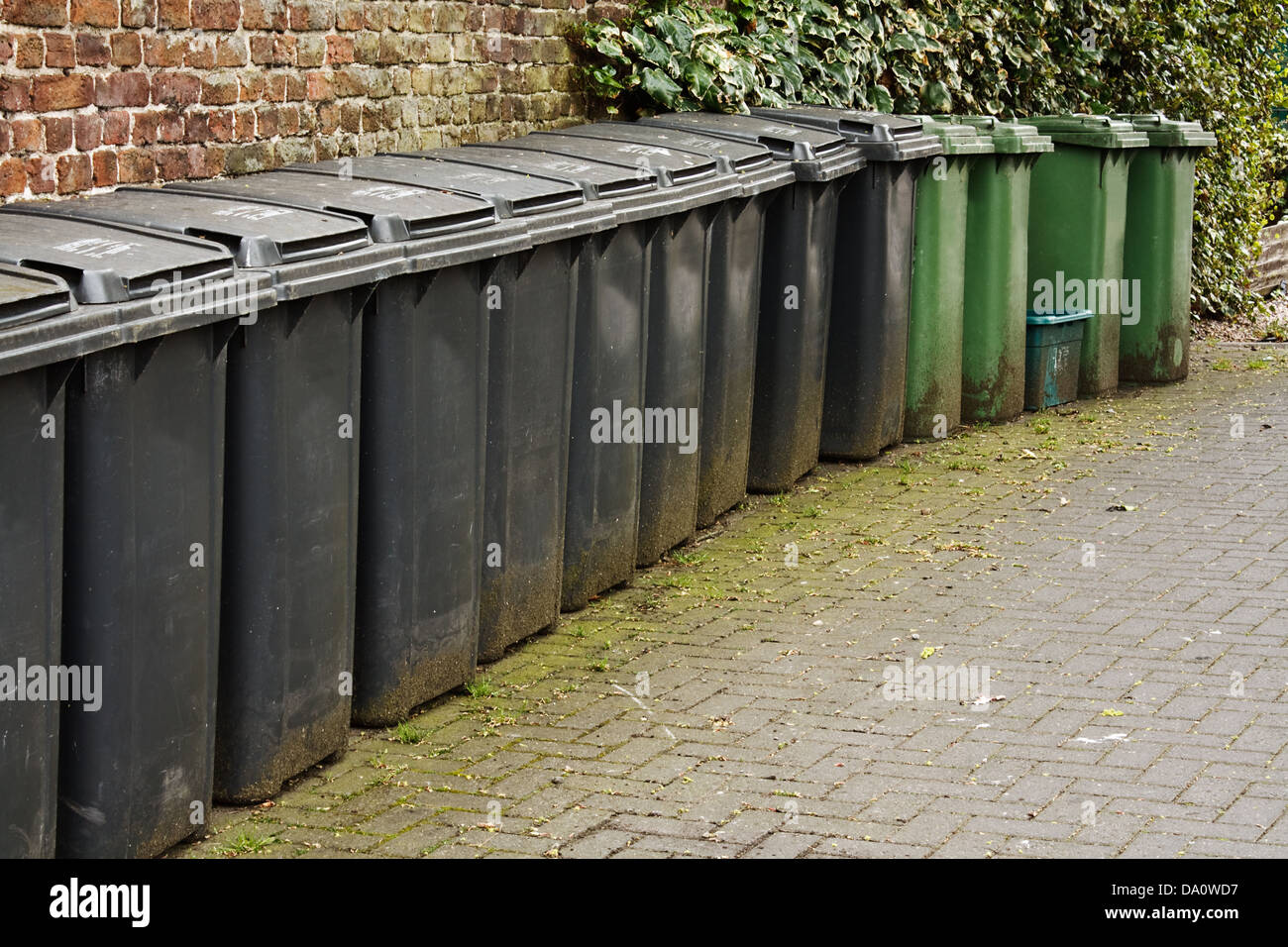Horizontal ine of wheelie bins used for the storage of domestic rubbish or household garbage disposal - Stock Image