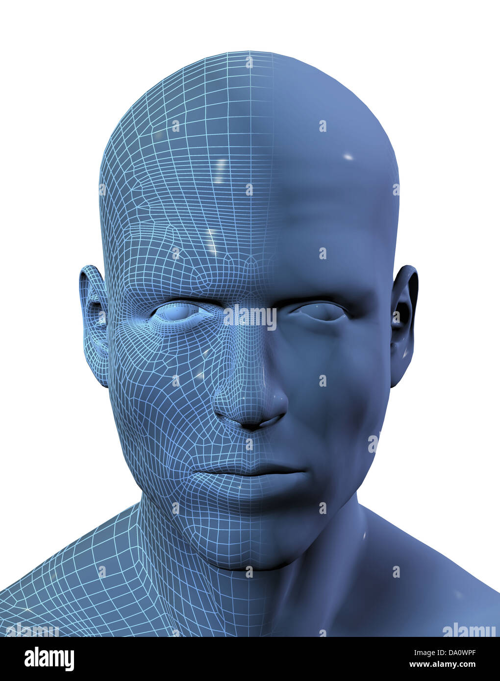 3D render of a males face with half the face in wireframe Stock