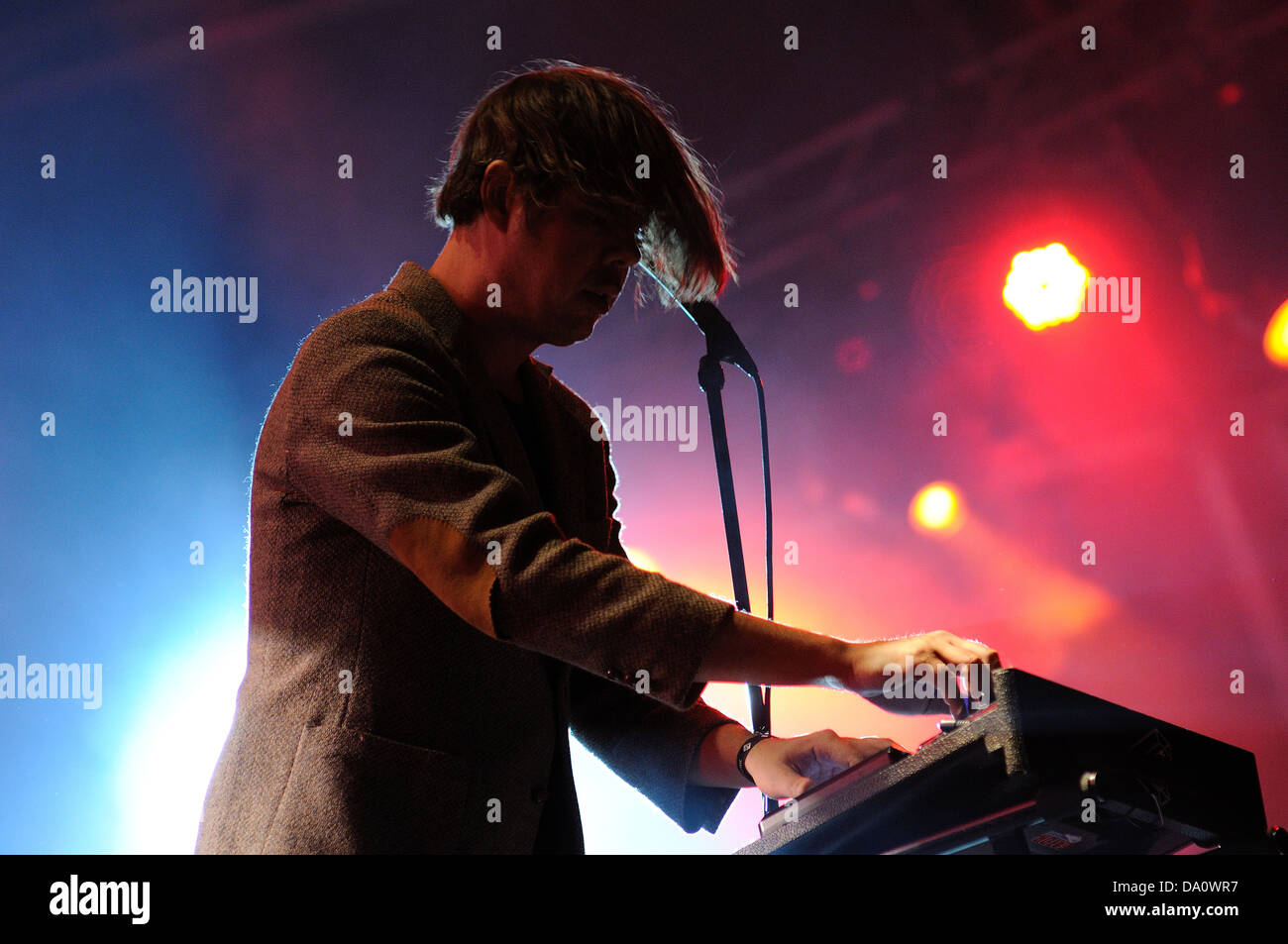 BARCELONA - MAY 24: Liars band, performs at Heineken Primavera Sound 2013 Festival on May 24, 2013 in Barcelona, - Stock Image