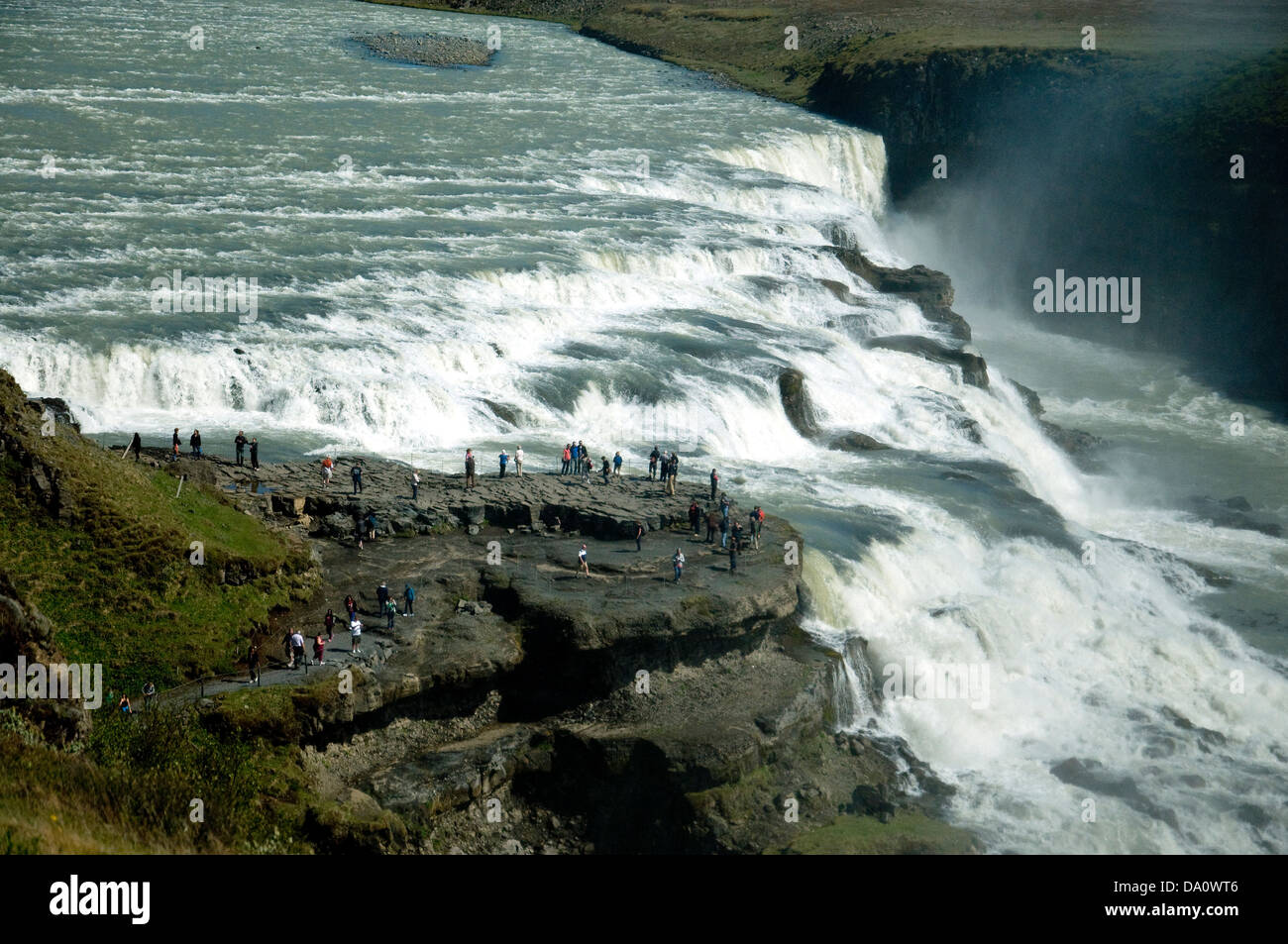 Gullfoss, Iceland's most spectacular waterfall, two cascades on the Hvita River flowing into a deep gorge - Stock Image