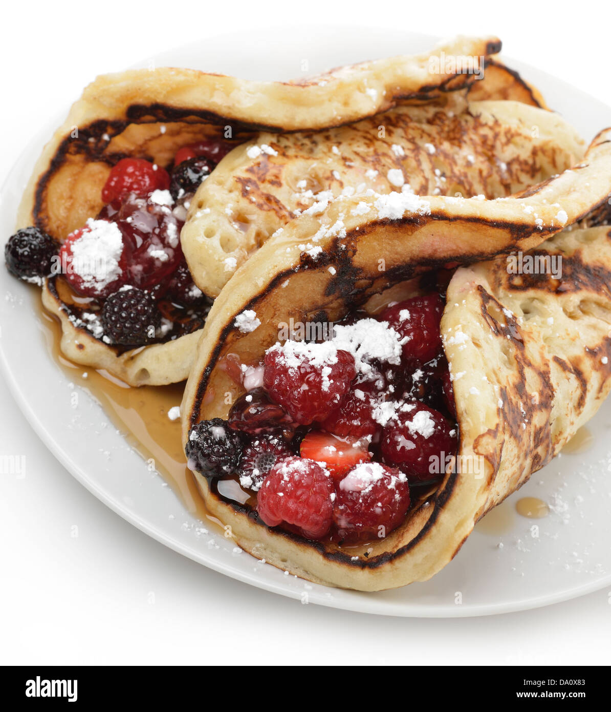 Pancakes With Berries And Maple Syrup ,Close Up - Stock Image