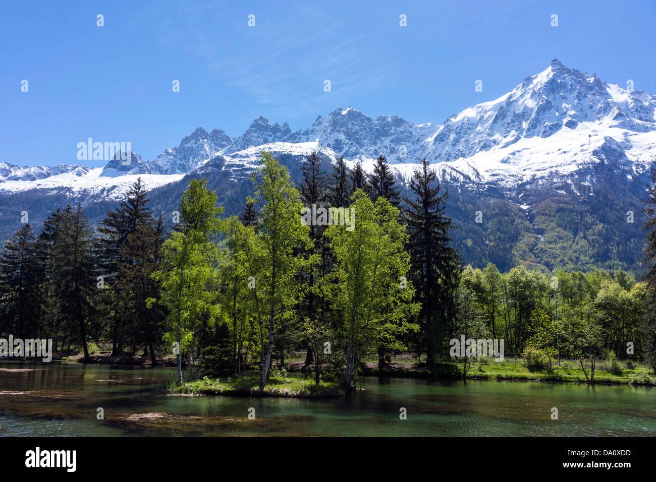 Chamonix Aiguilles and Aiguille du Midi from Lac des Gaillands, Chamonix, France Stock Photo