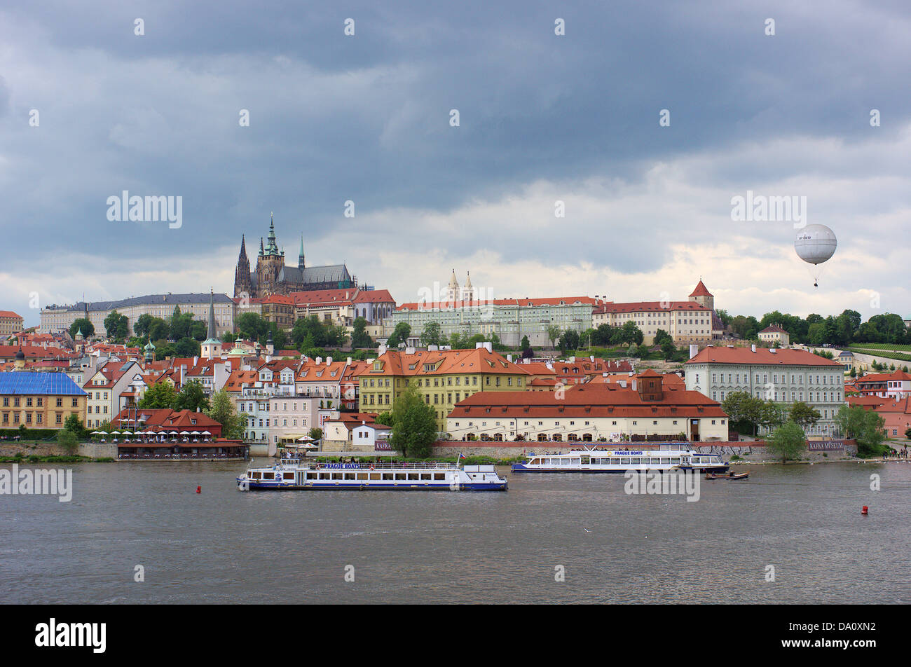 Prague View on Hradcany and Vltava River from the Old Town stormy sky - Stock Image