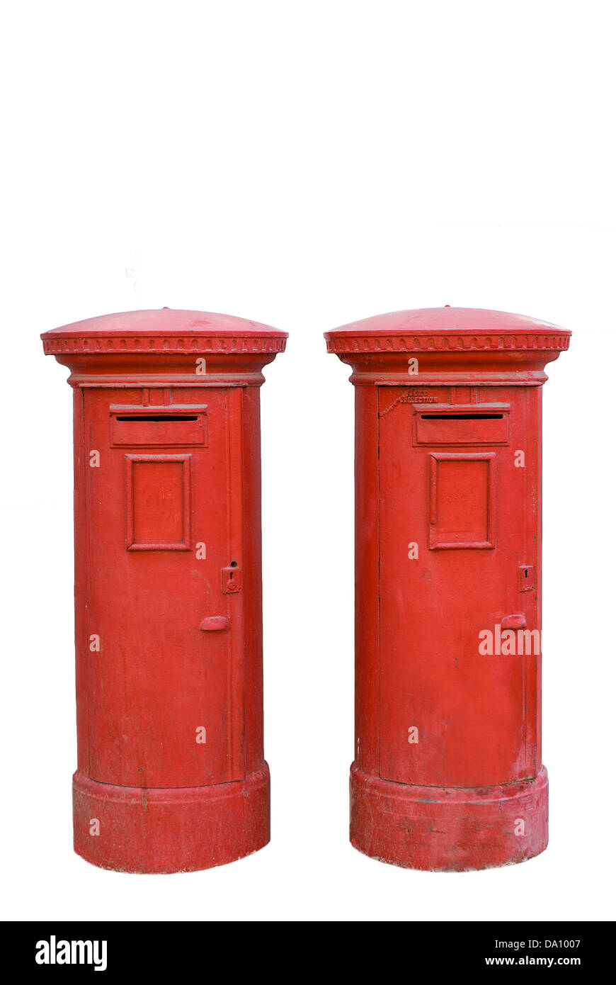 Two red mailboxes in a city of Israel - Stock Image