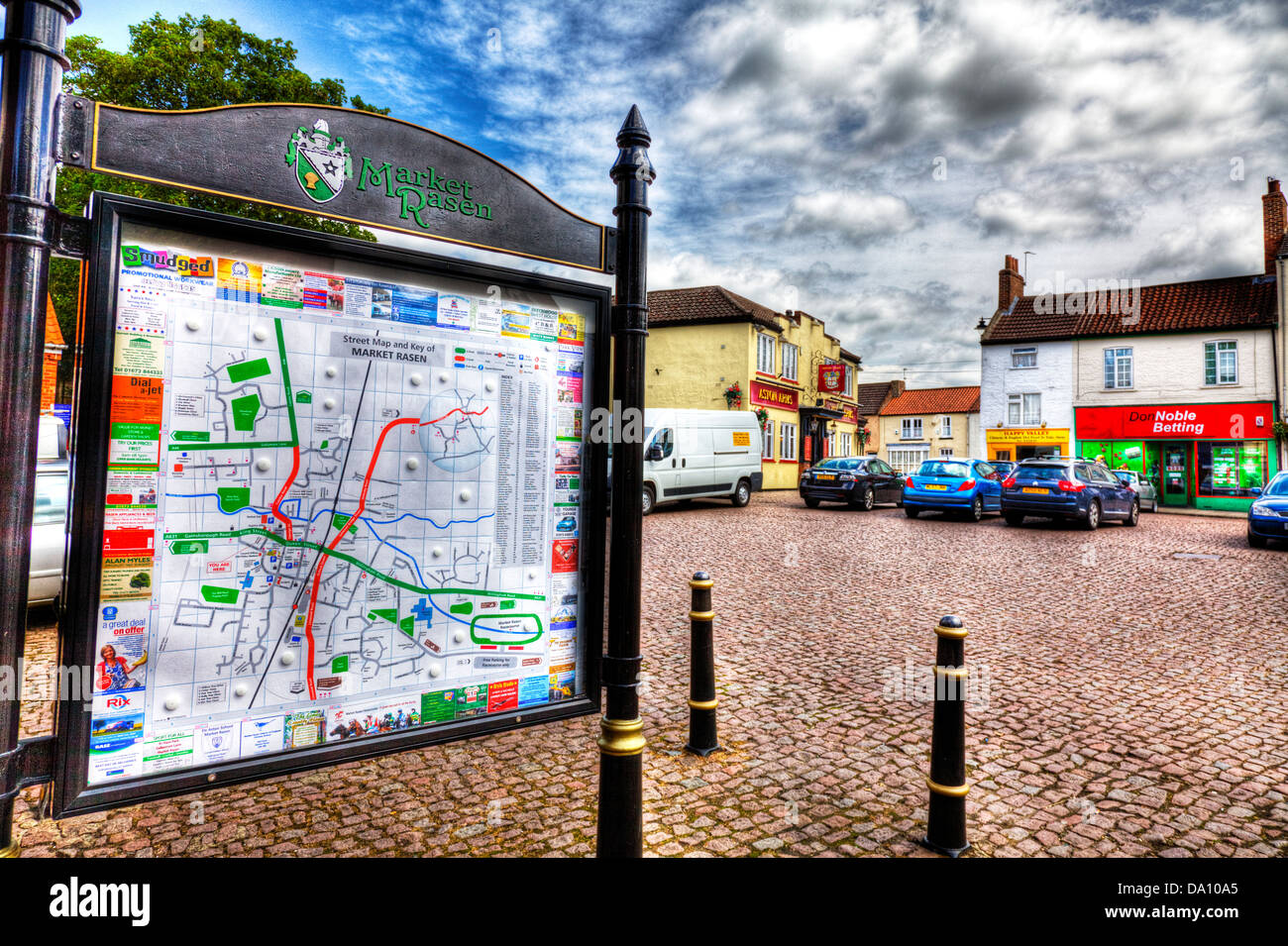 Market Rasen town village centre sign board market place, Lincolnshire, UK, England - Stock Image