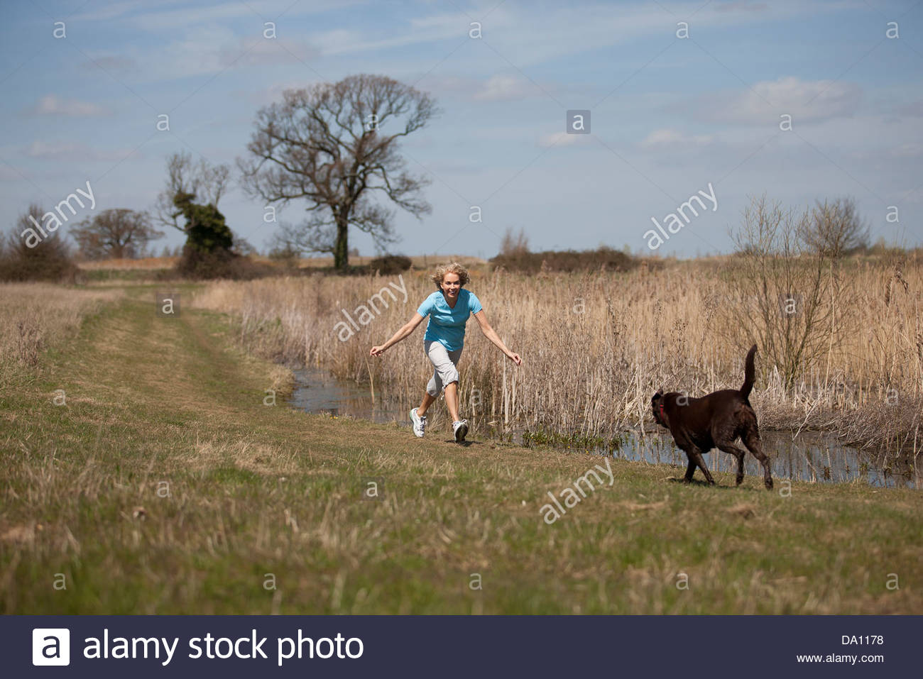 A mature woman having fun with her dog in the countryside - Stock Image