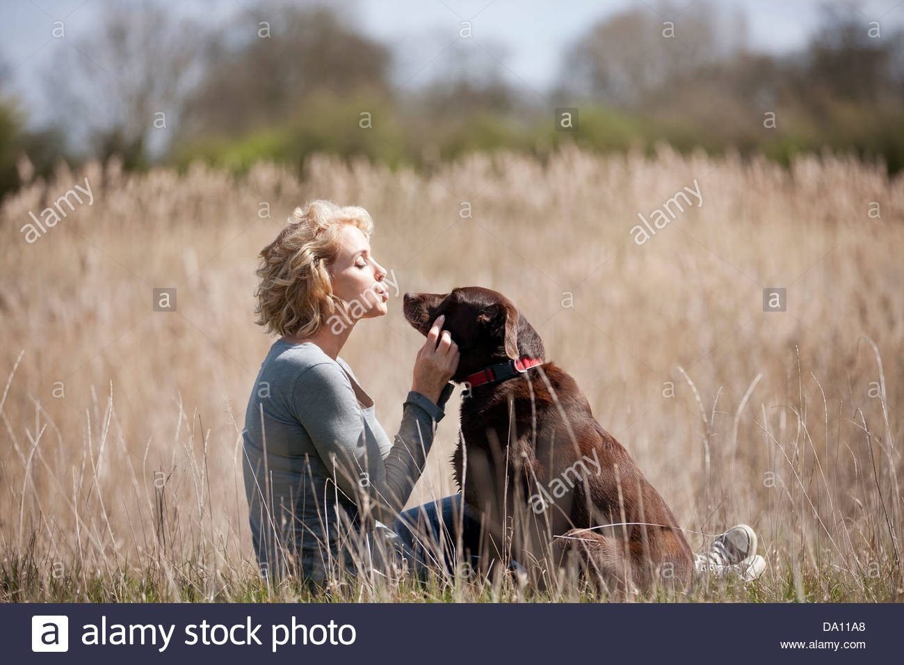A mature woman sitting on the grass with her dog - Stock Image