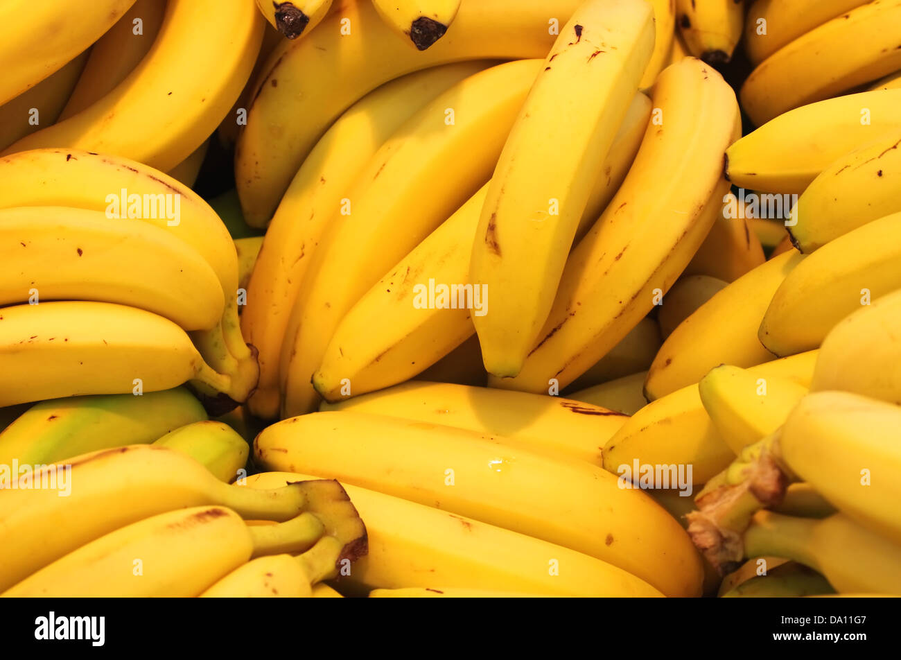 Bananas for sale in a greengrocery - Stock Image